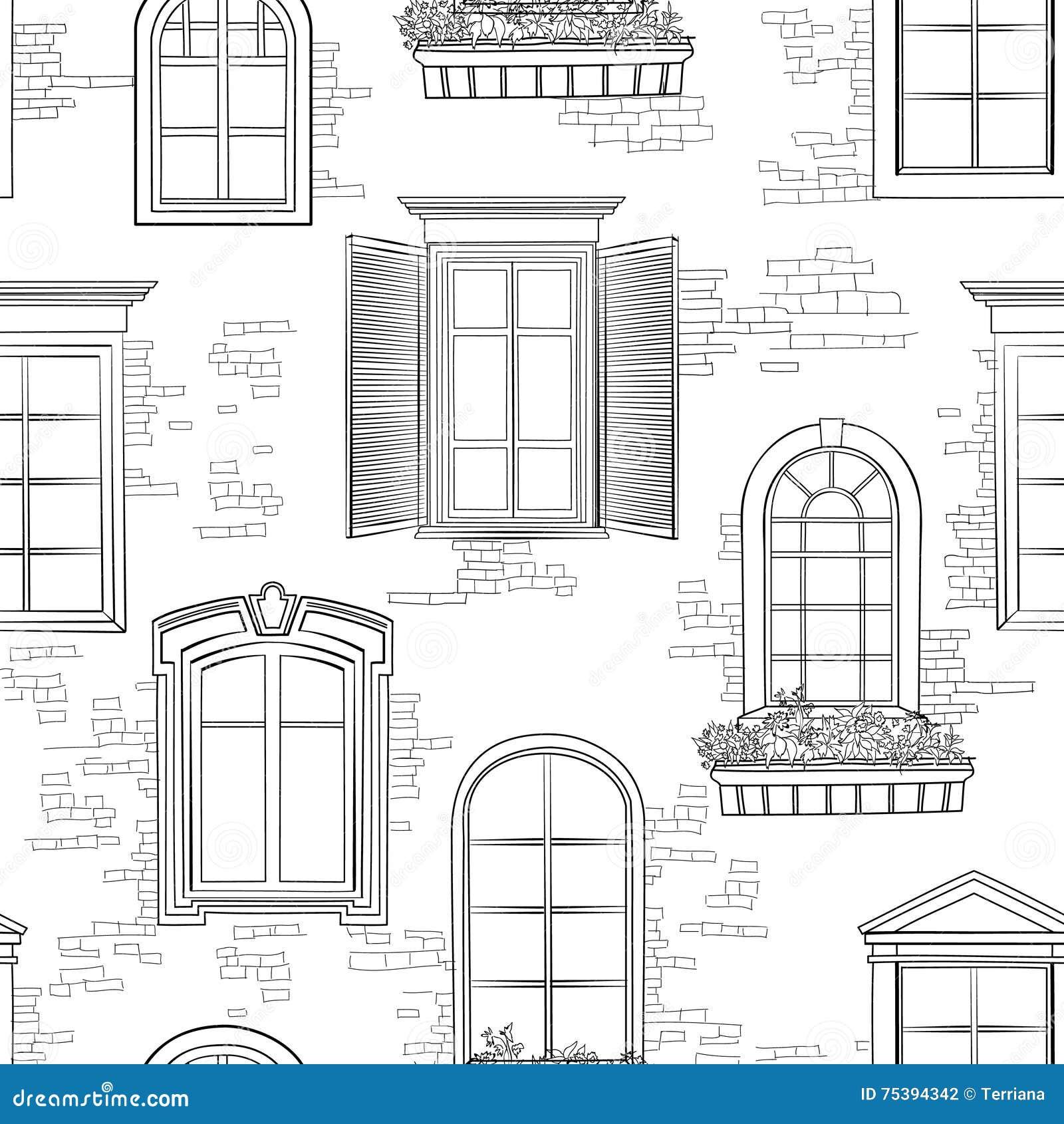 Fen tre sur le mod le antique de mur de briques fond de for Architecture fenetre