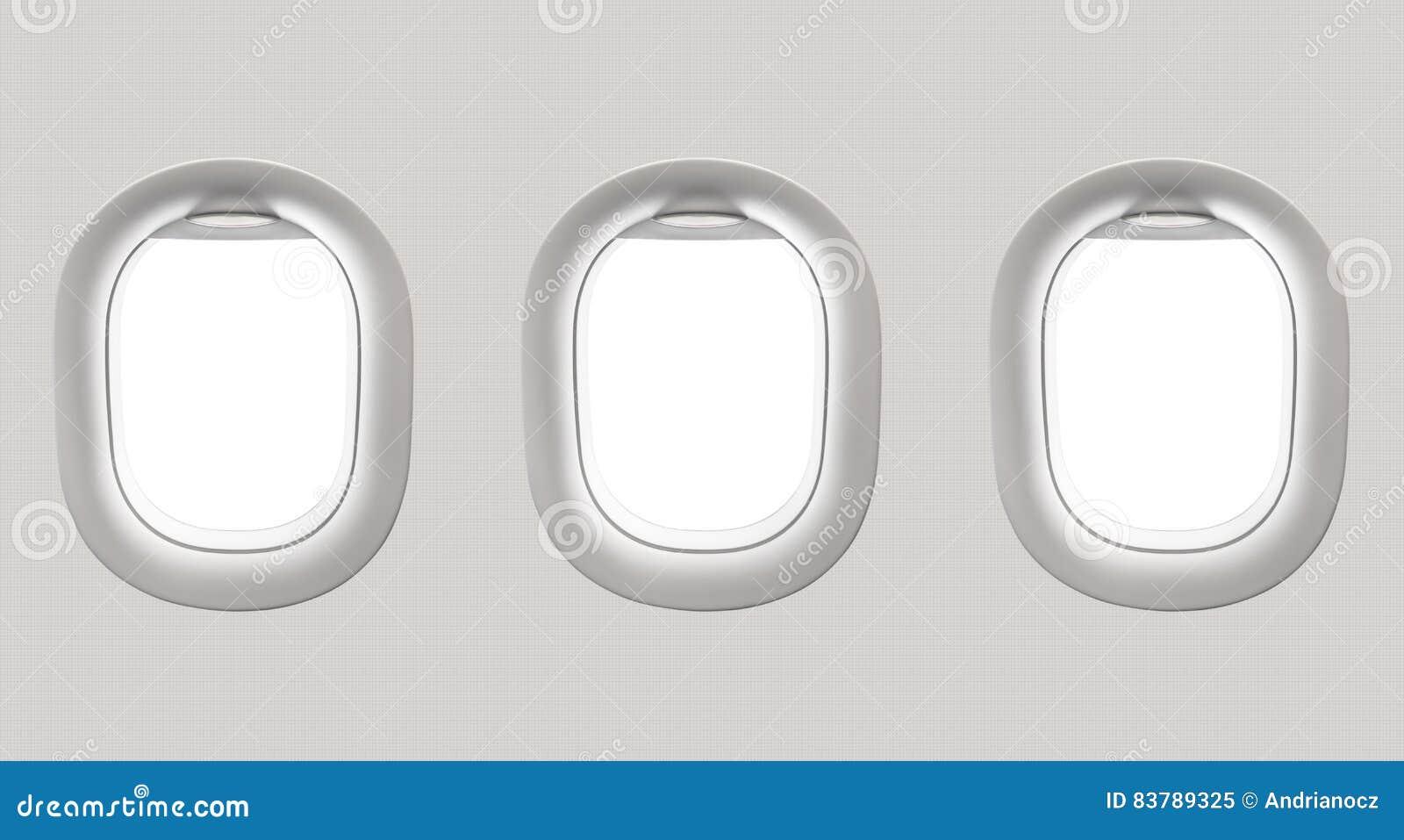 Fenêtres blanches vides d avion