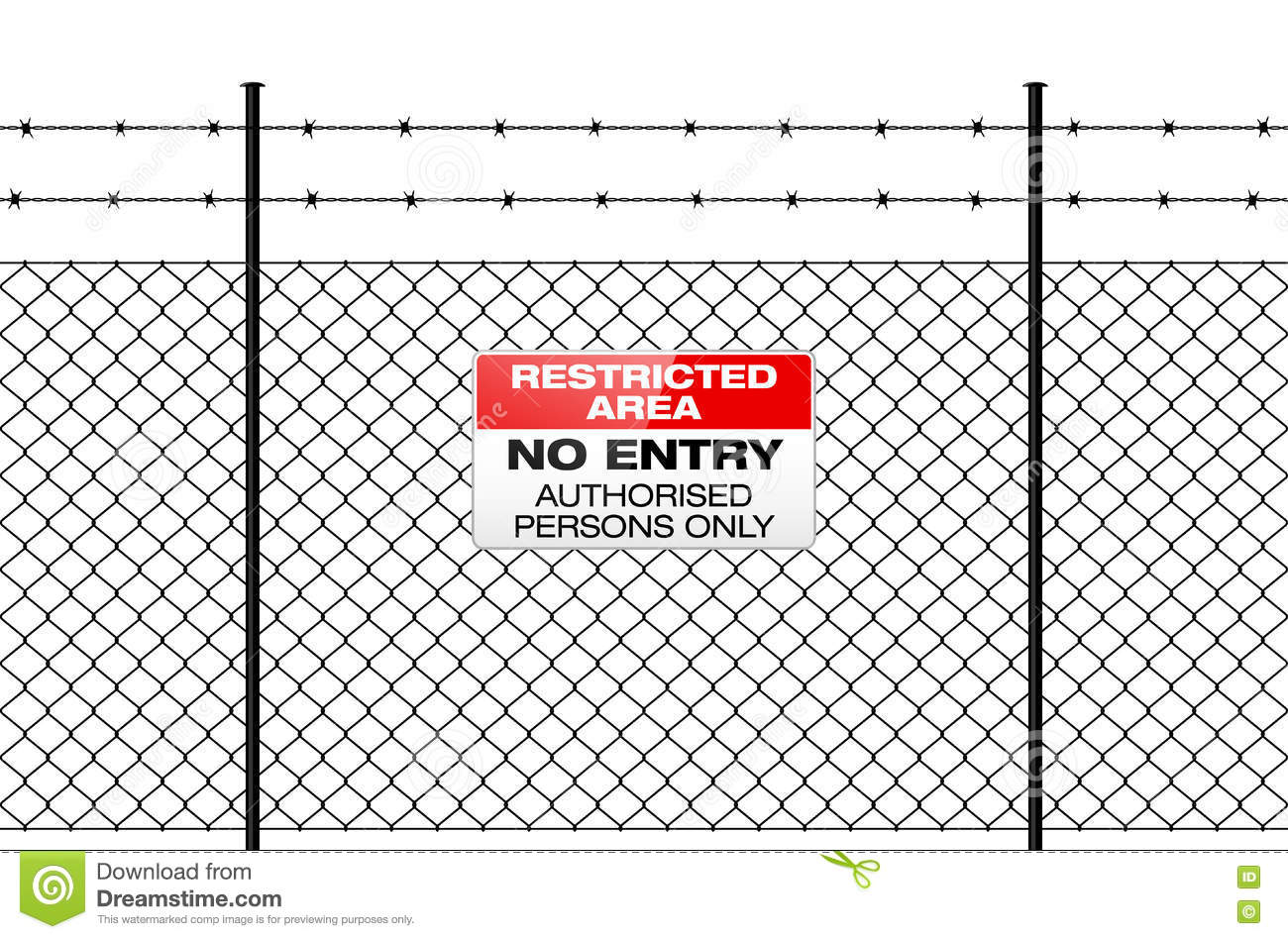 Fence With Barbed Wire And Sign NO ENTRY Stock Vector - Illustration ...