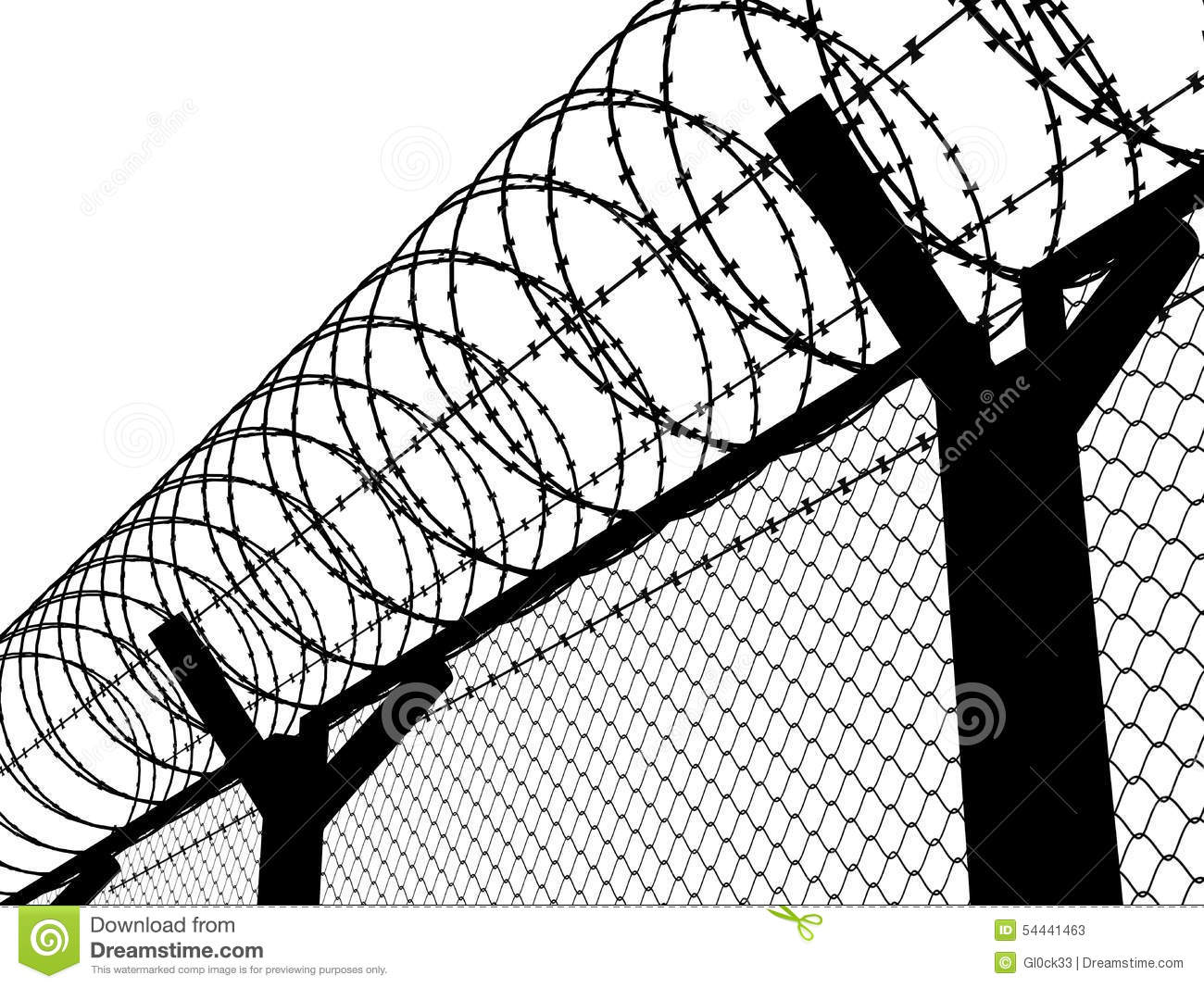 Fence with a barbed wire stock illustration. Illustration of crime ...