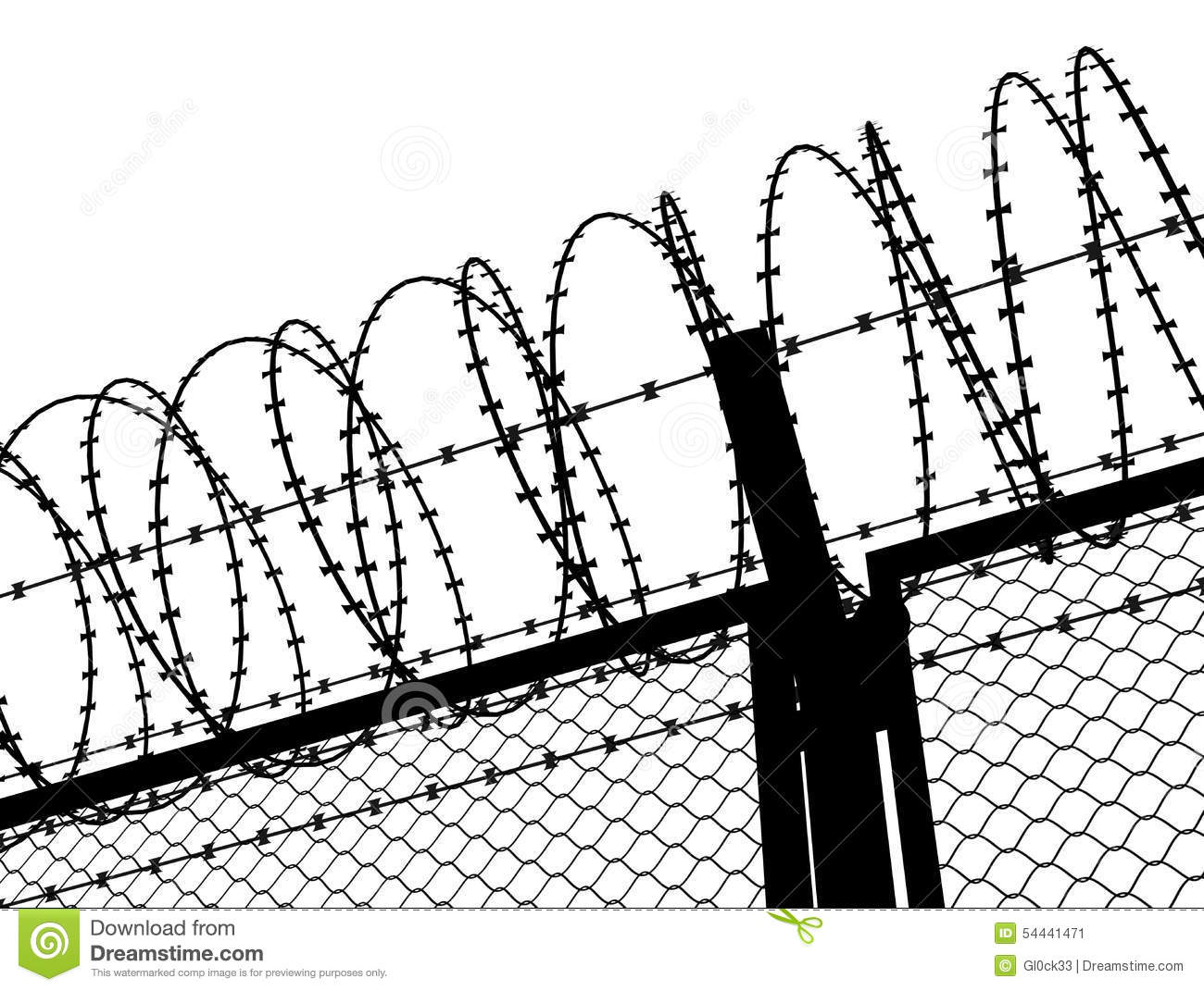 Fence with a barbed wire stock illustration. Illustration of safety ...
