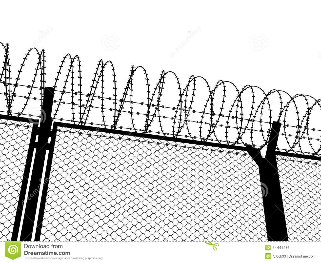 Fence with a barbed wire stock illustration. Illustration of ...