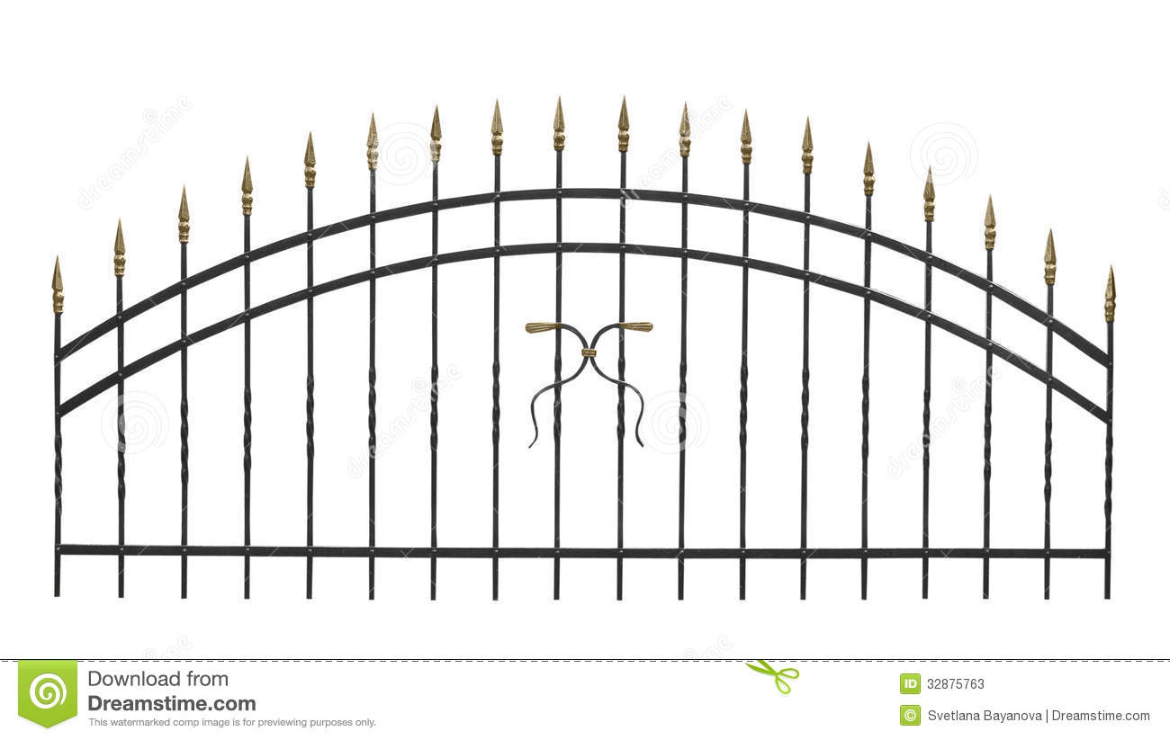 Forged Parts Black And White : Fence stock image of cordon ornament figure