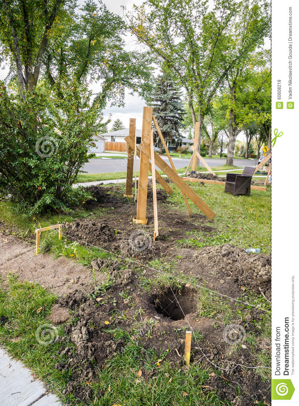 fence construction work in progress stock photo image 60608218