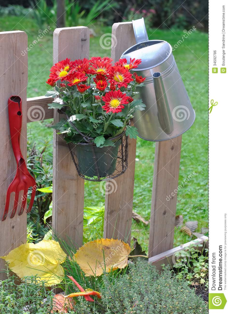 Fence for garden royalty free stock image image 34592786 - Flower pots to hang on fence ...