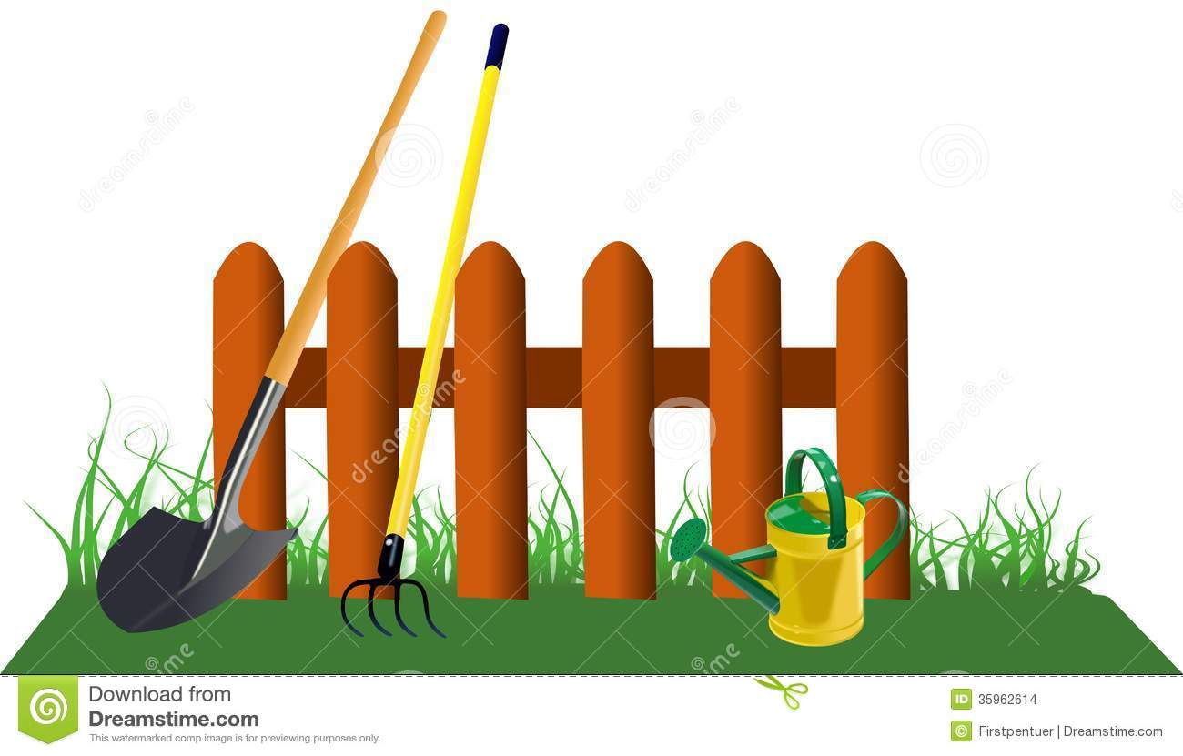 Fence In Grass With Garden Tools Stock Images Image