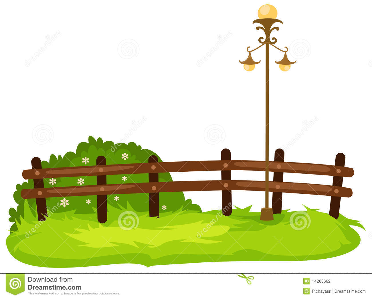 Fence with lamp