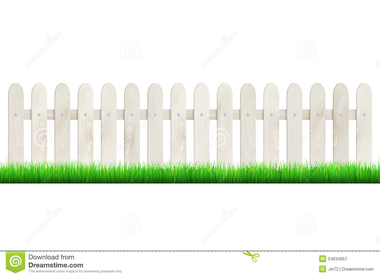 Fence from light wood and grass isolated on white for Cerco illustratore