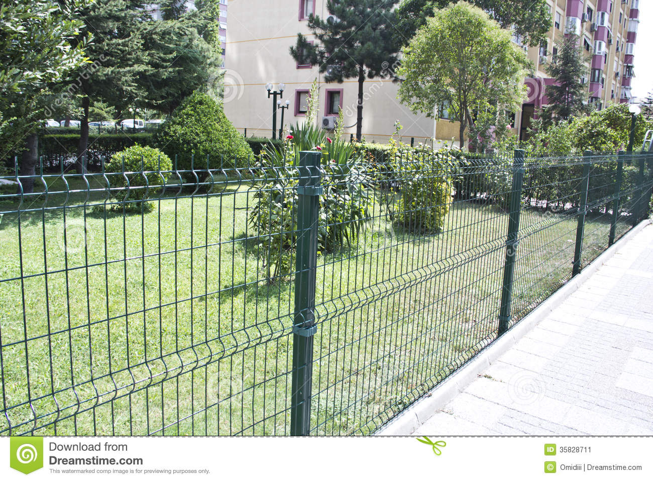 Fence stock image of around blue close link