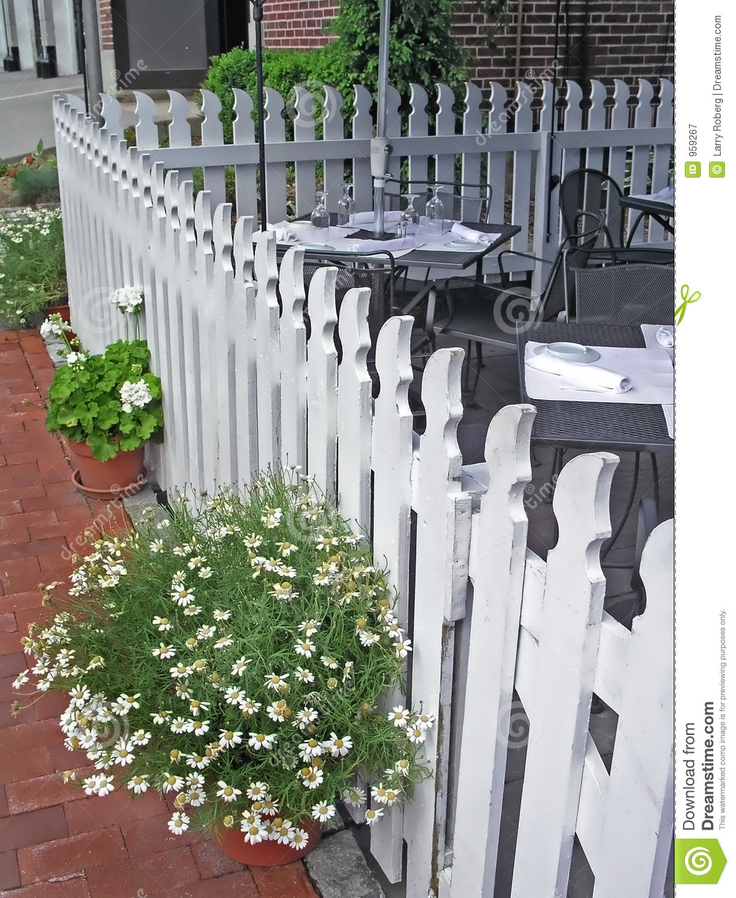 Fence At Outdoor Restaurant Stock Image - Image of summer ...