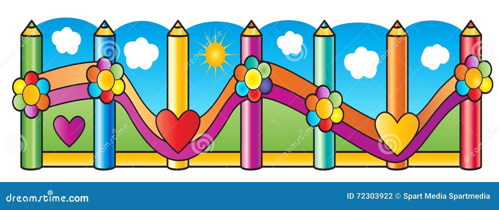 Download Fence Pencils school stock vector. Illustration of artist - 72303922