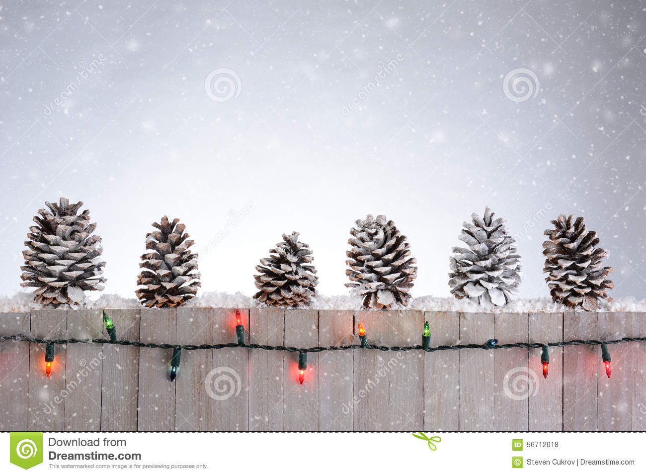 Fence With Pine Cones Stock Photo Image Of Christmas