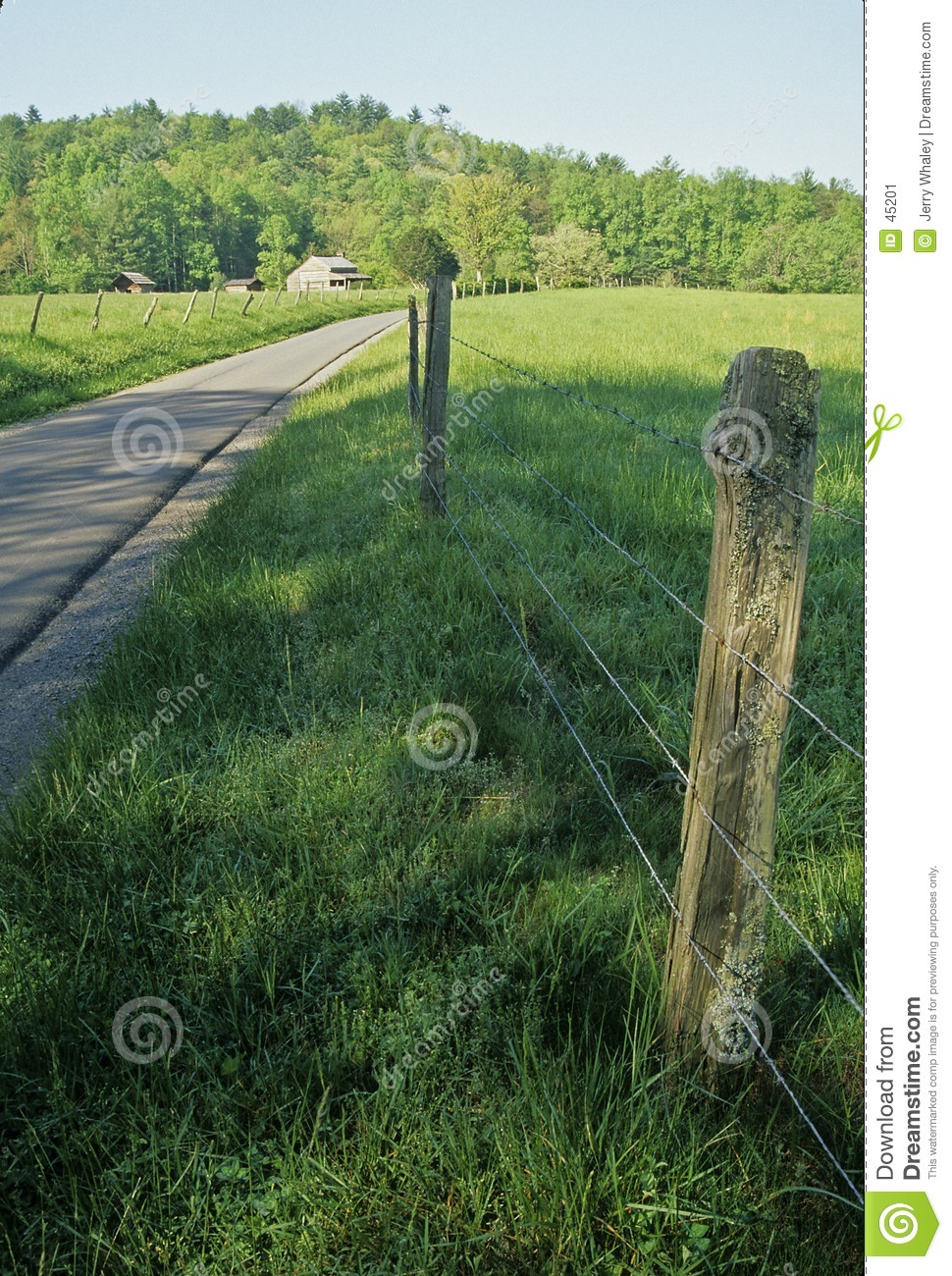 Fence, Road, Cabin, Spring