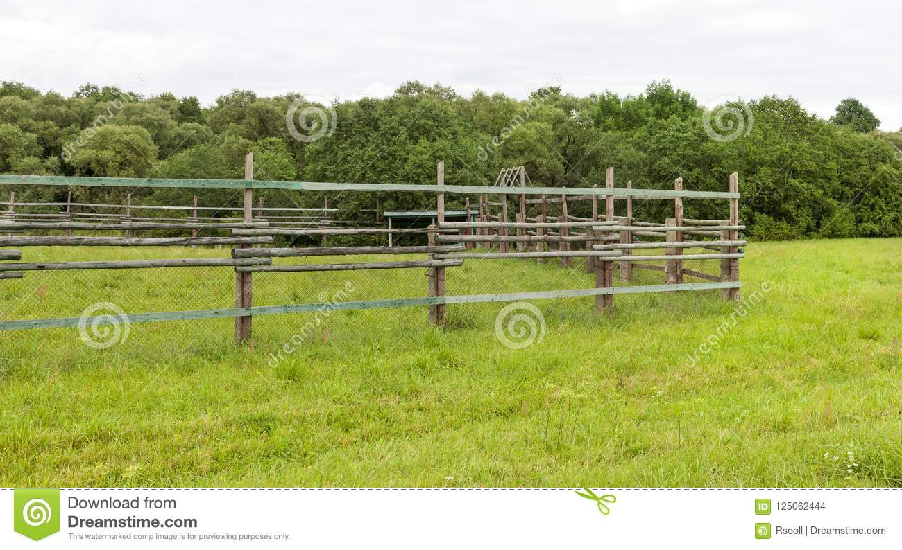 fence of wooden poles