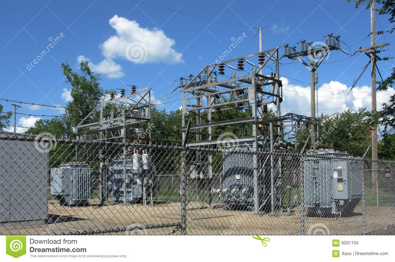 Fenced electrical power substation