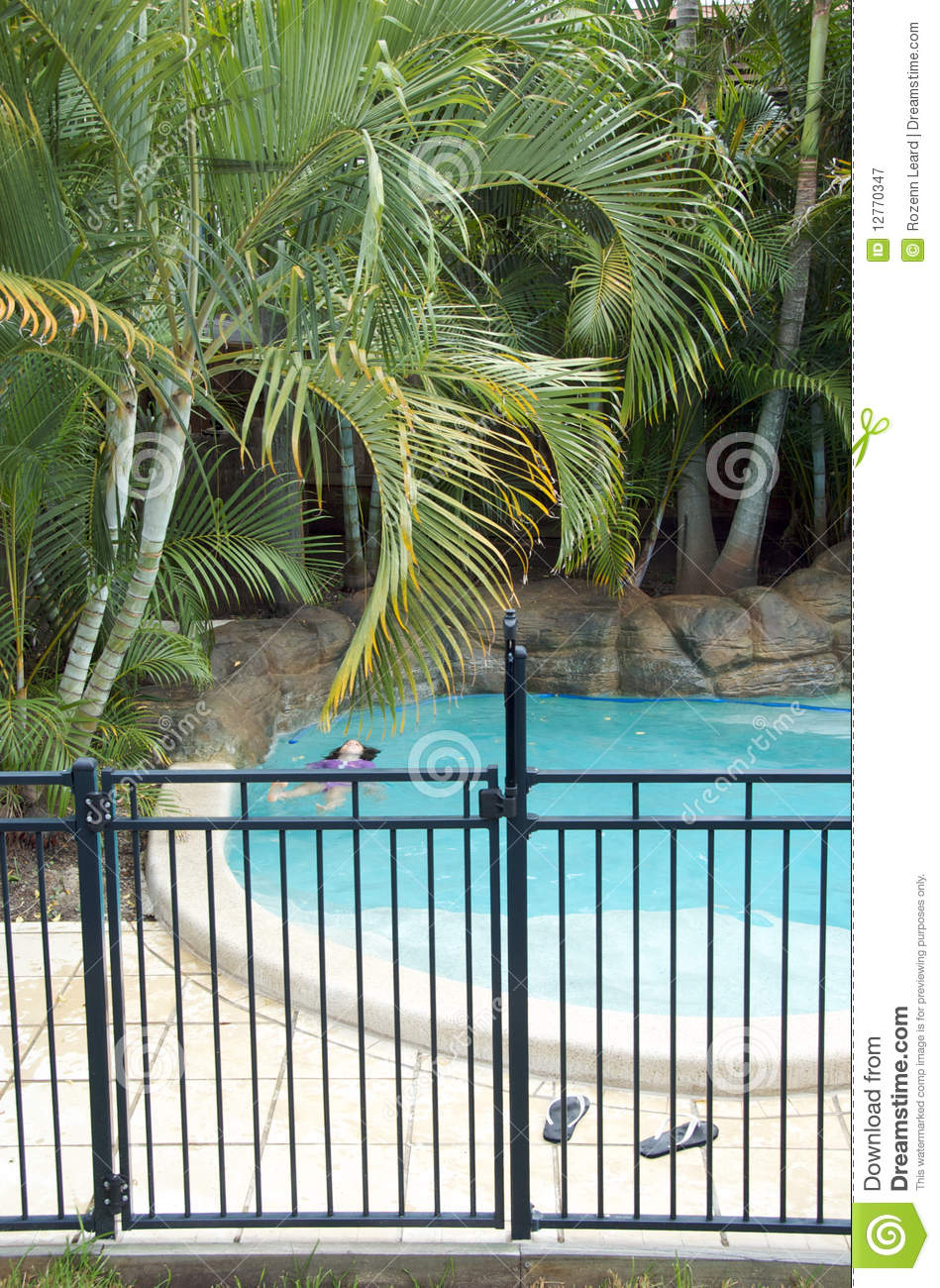 Fenced Swimming Pool Stock Image Image Of Outdoor Gate 12770347