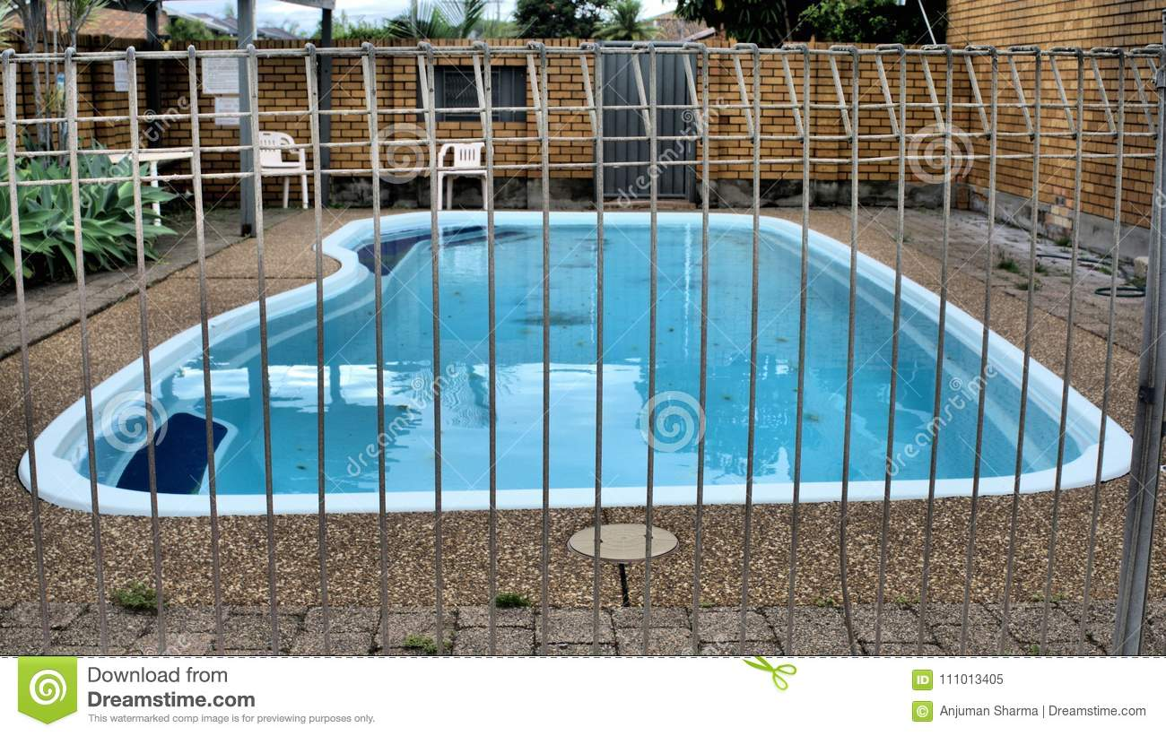 Fenced Swimming Pool Stock Image Image Of Surrounded 111013405
