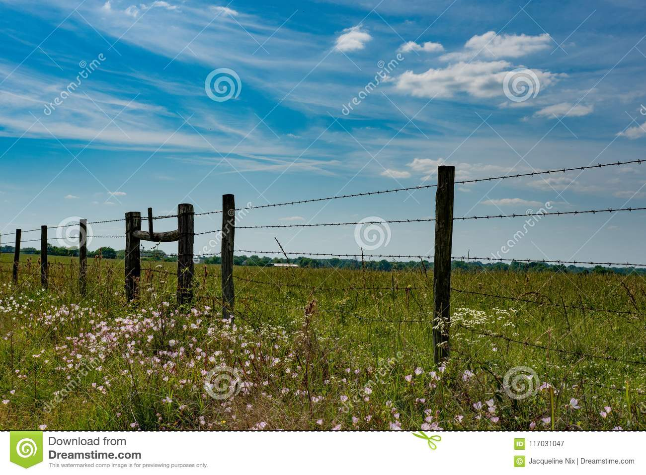 Fenceline Along A Hay Field As An Agricultural Background Stock ...