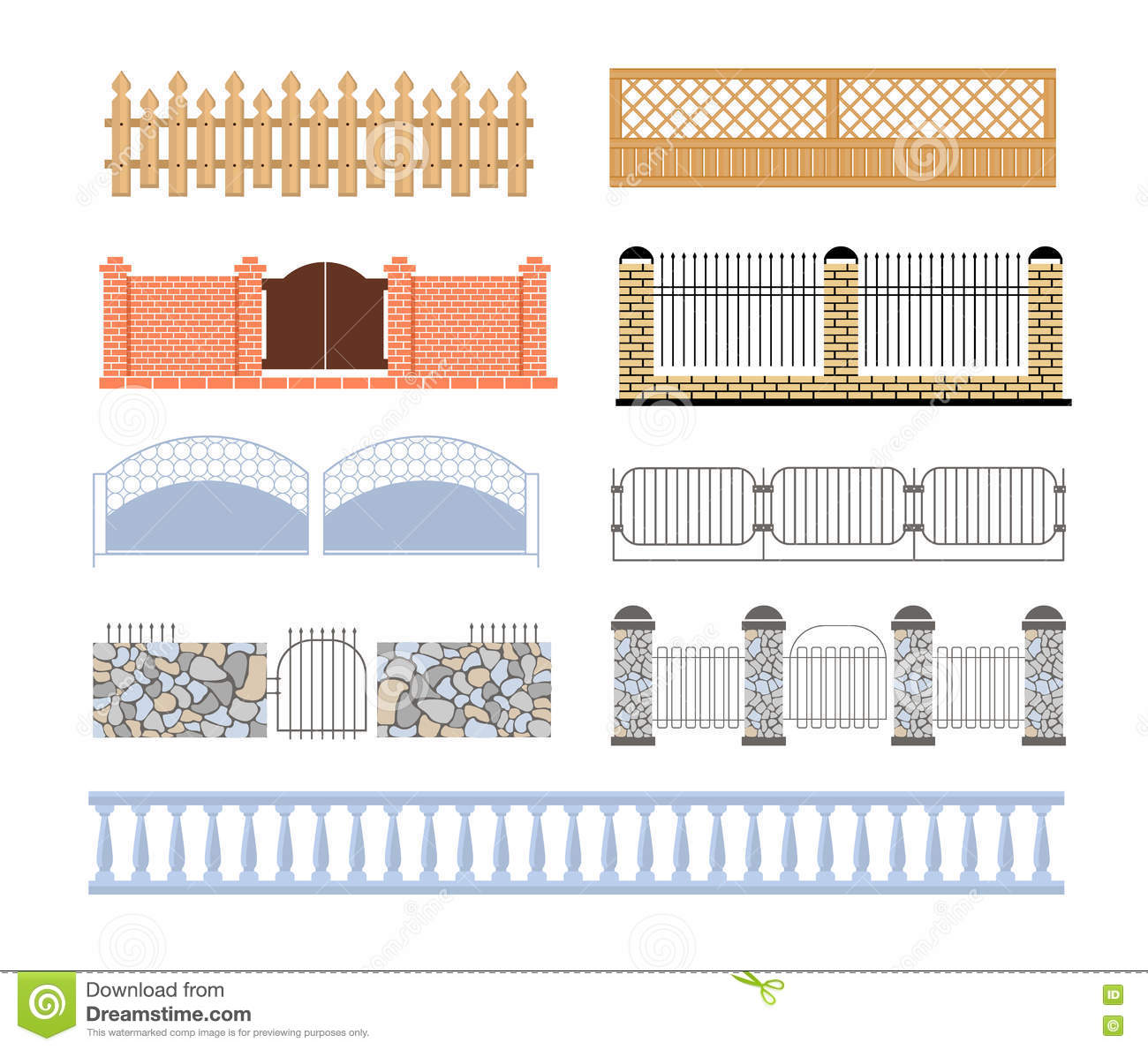 Fences Of Different Materialls Set Designs Stock Vector