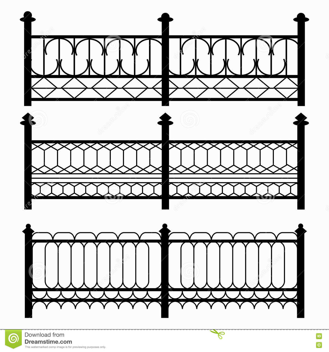 Fences Isolated Black Symbols Collection Stock Vector Illustration