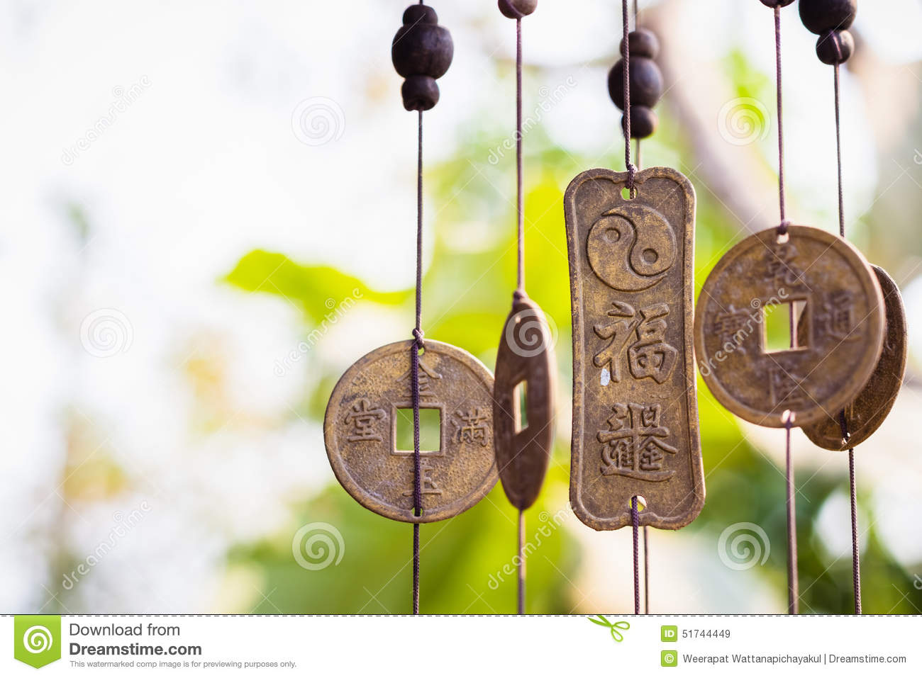 Download Feng Shui chimes stock image. Image of meditation, antique - 51744449