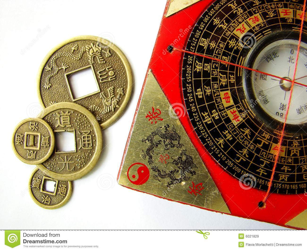 Feng shui compass and coins royalty free stock images for Chinese feng shui house