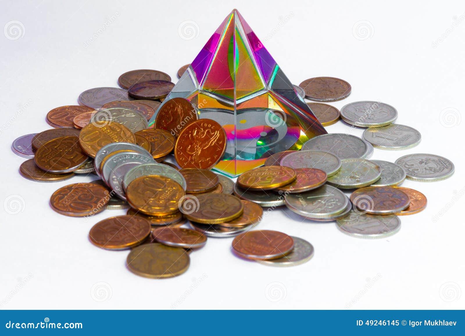 Feng Shui Pyramide Und Münzen Stockbild Bild Von Braun Besitzen