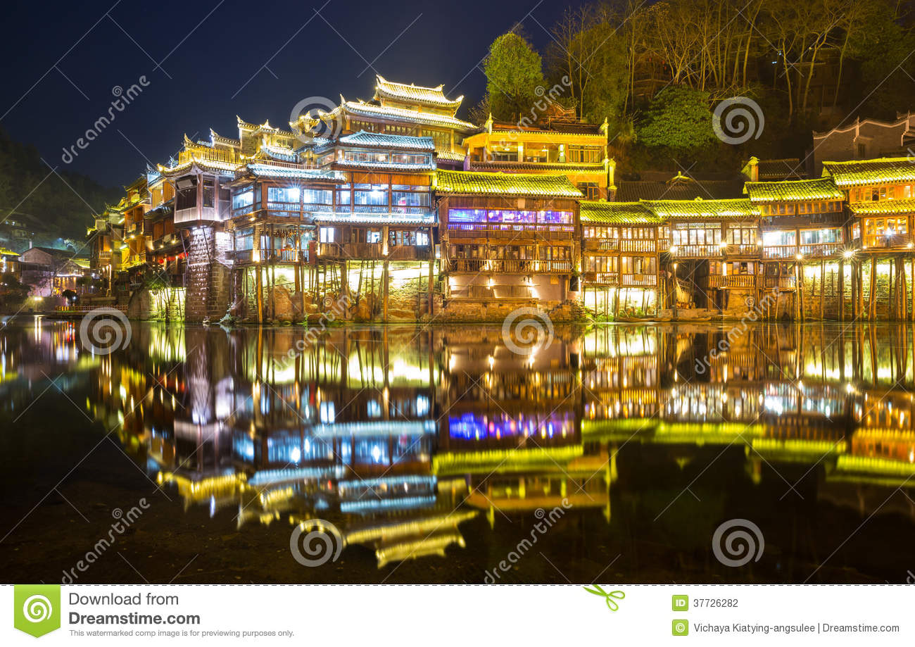 Fenghuang (Phoenix) China  City pictures : Fenghuang Phoenix ancient town sunset duak, Hunan province, China.