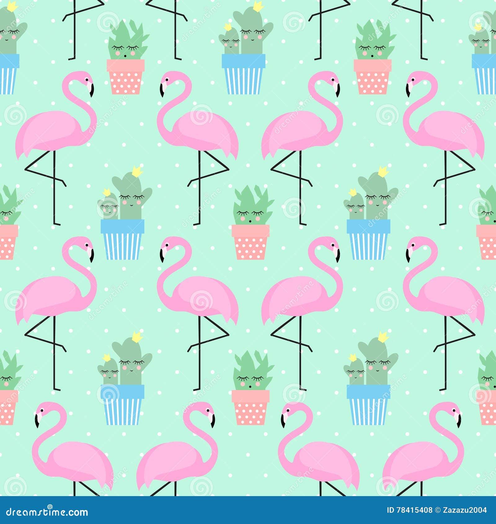 Fenicottero rosa con il cactus