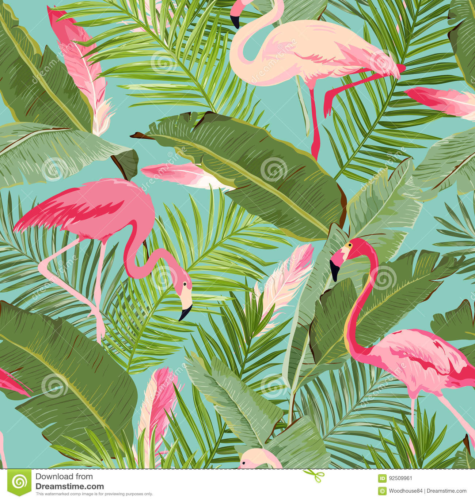 Fenicottero senza cuciture tropicale e modello floreale di estate Per le carte da parati, ambiti di provenienza, strutture, tessu