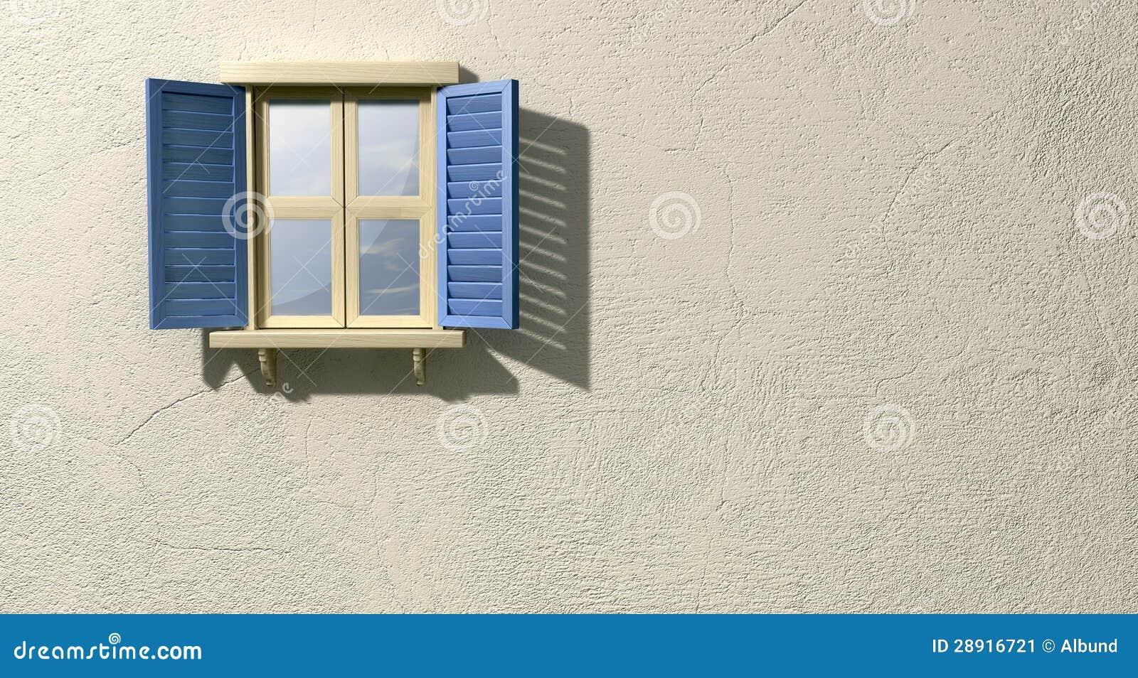 Fenster mit blauer fensterladen front stockbild bild von blendenverschl sse au en 28916721 - Fenster justieren anleitung mit bildern ...