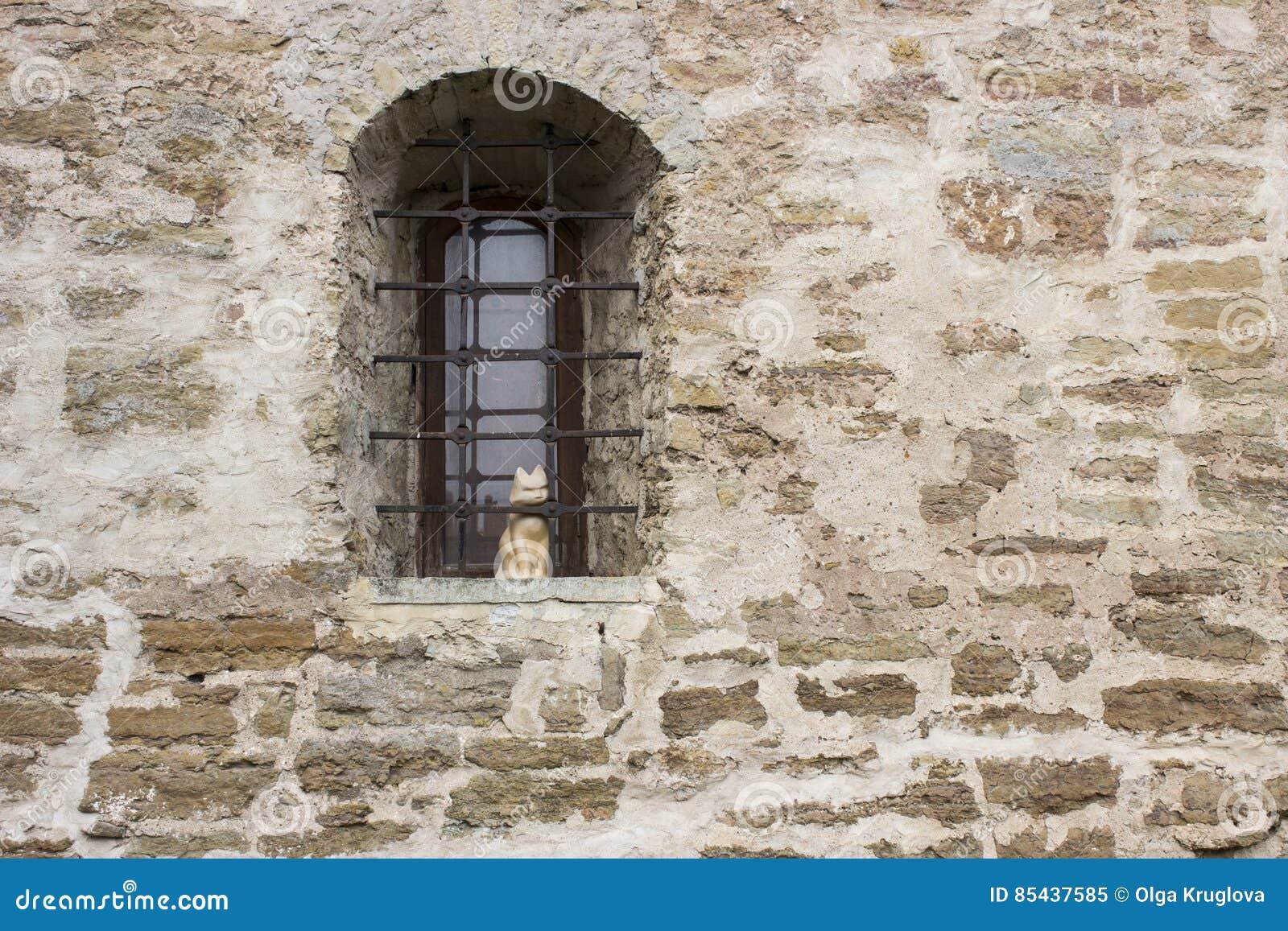 Fenster Mit Einem Gitter Und Einer Katze Stockbild Bild Von Stein