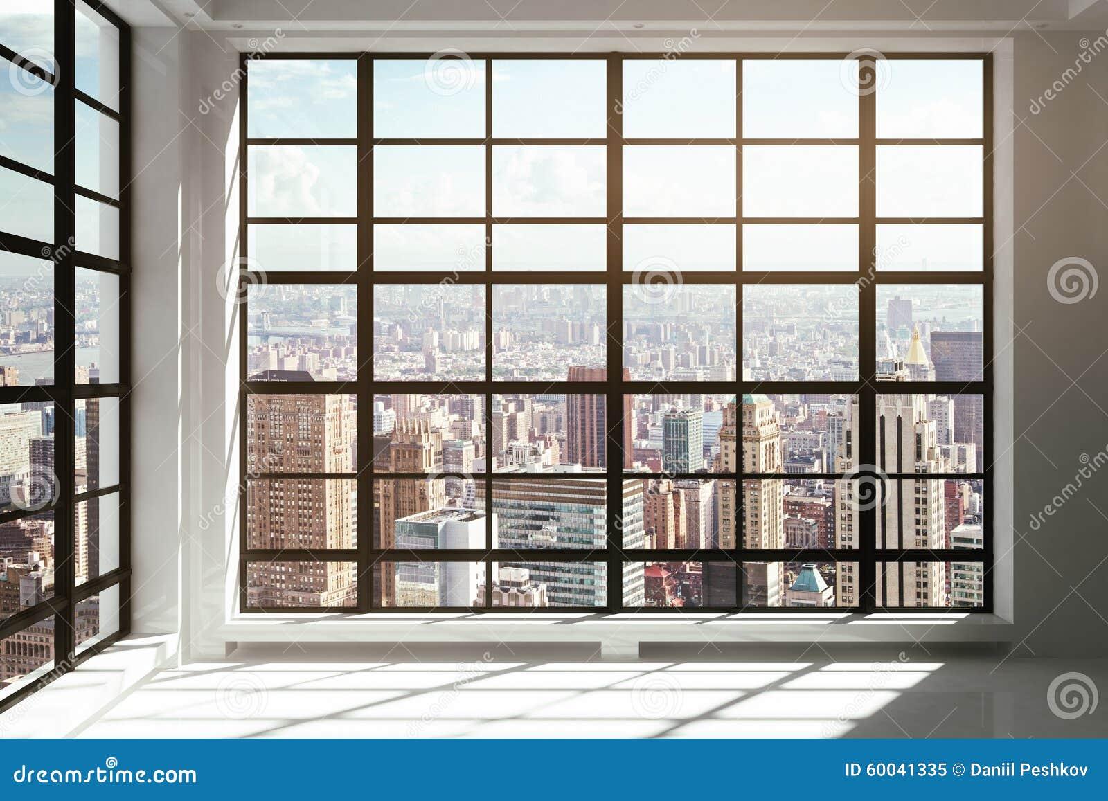 Fenster Vom Boden Bis Zur Decke Mit Stadtansicht Stockbild Bild