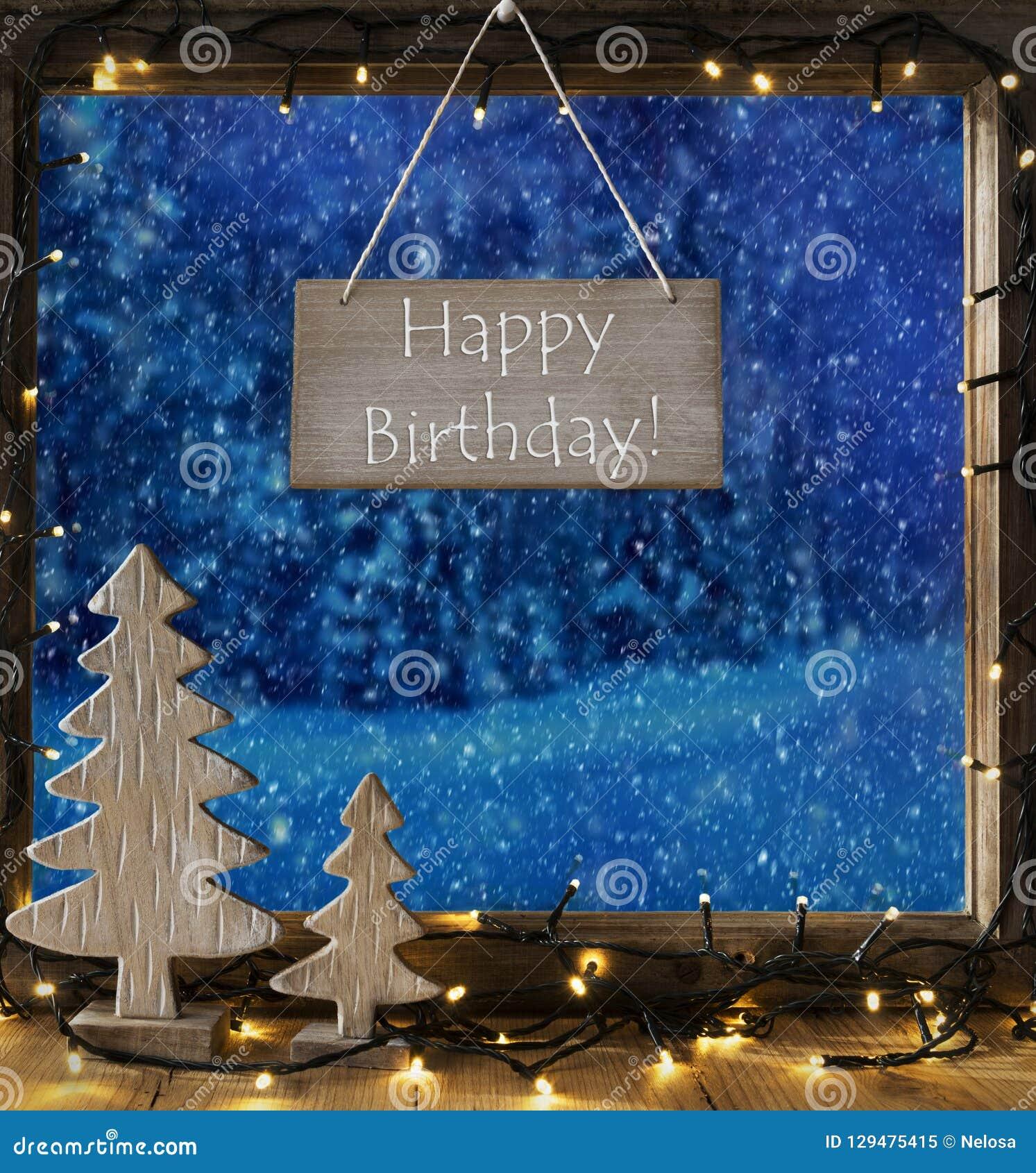 Fenster Winter Wald Text Alles Gute Zum Geburtstag Schneeflocken