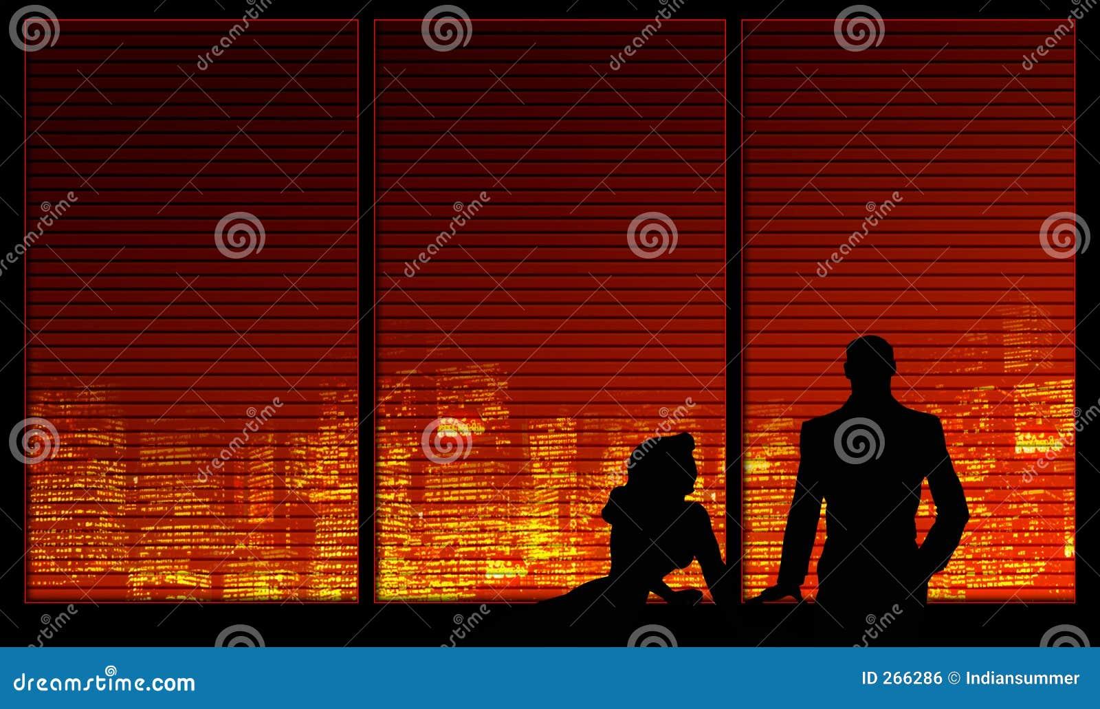 Fensterhintergrundserie. Ein Paar