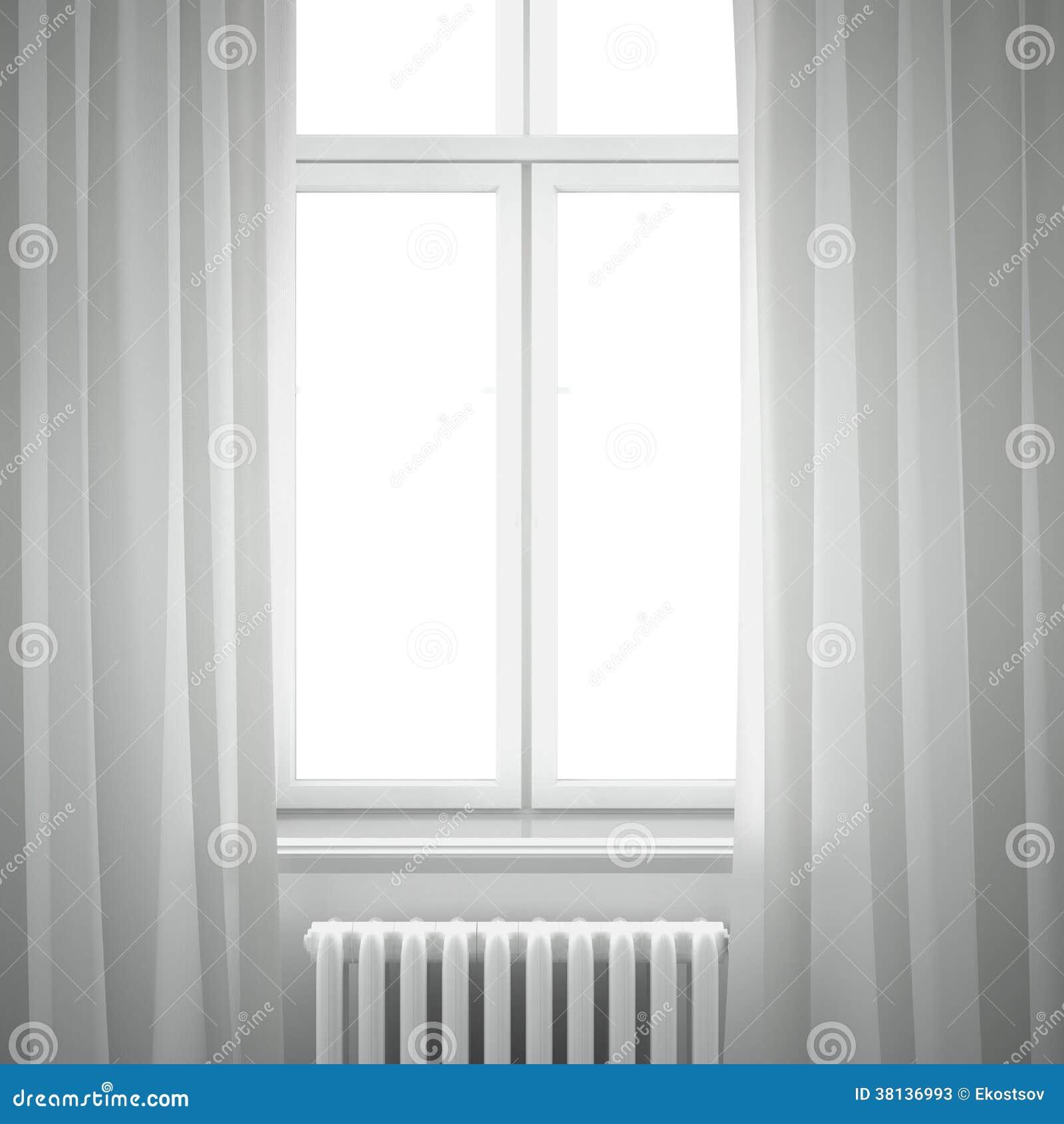 Fensterrahmen mit Vorhang stock abbildung. Illustration von aufbau ...