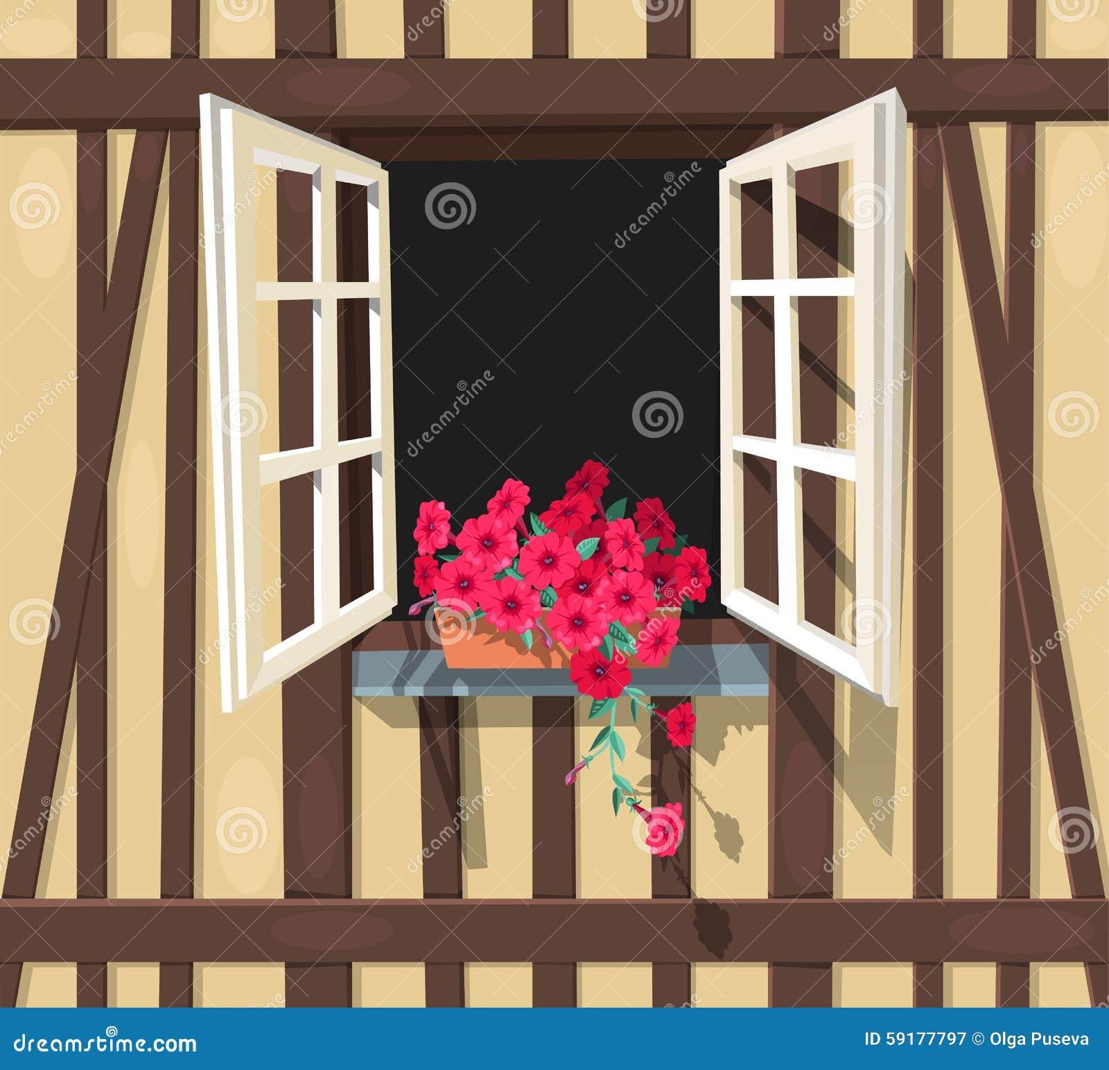 Fen tre colombage de maison illustration de vecteur for La maison de la fenetre