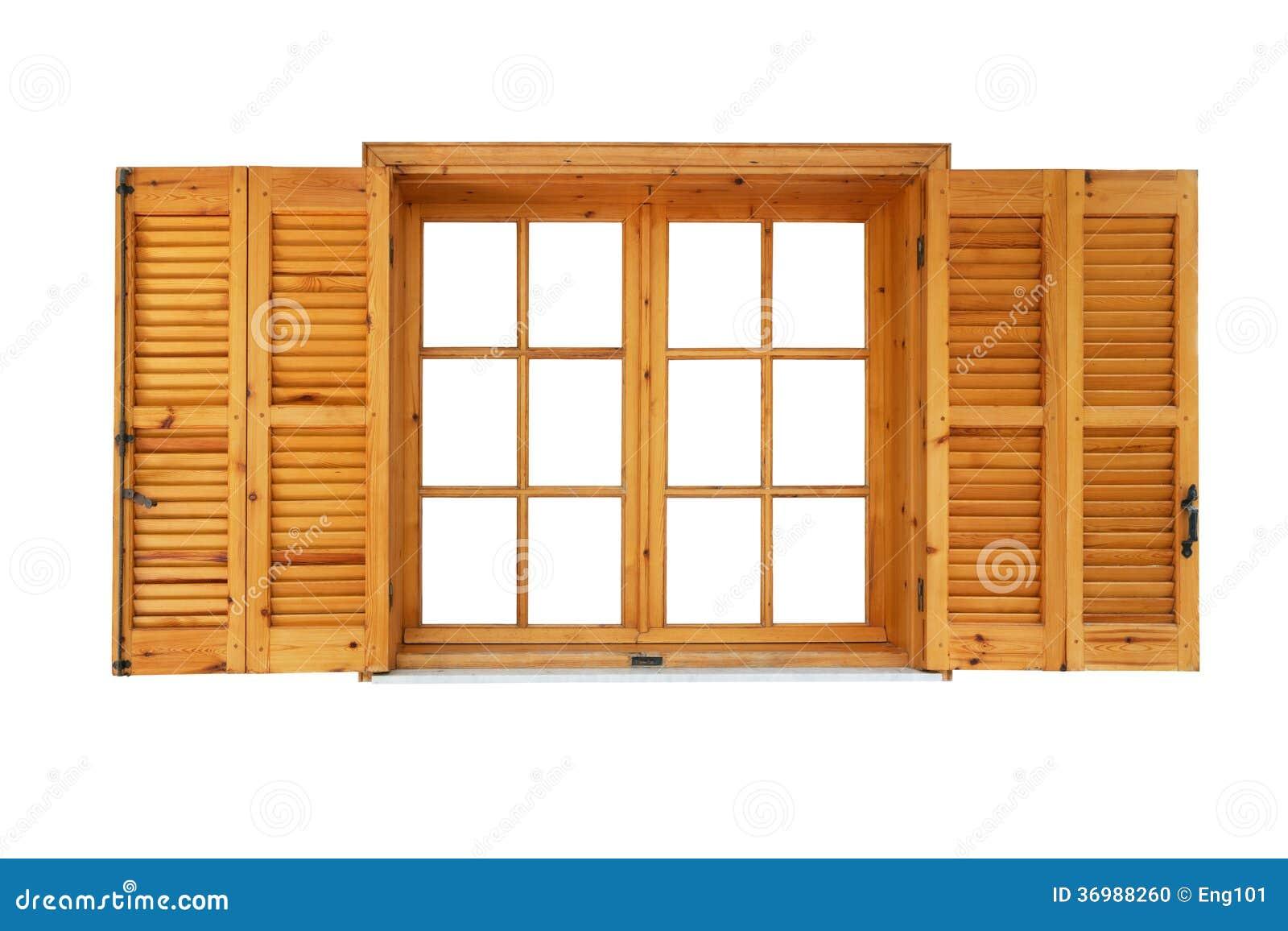 Fen tre en bois avec des volets ouverts photo stock for Bois de fenetre
