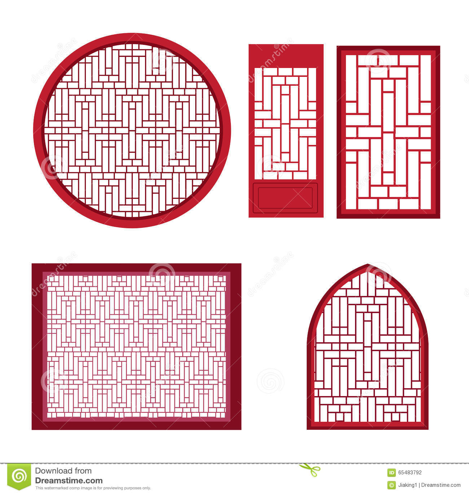 fen tre et porte avec le mod le asiatique illustration de vecteur image 65483792. Black Bedroom Furniture Sets. Home Design Ideas