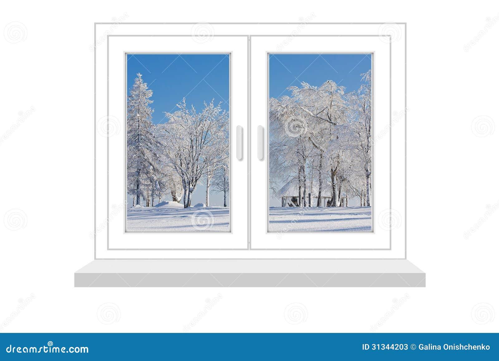 Fen tre ferm e avec une sorte sur le paysage d 39 hiver for Fenetre hiver
