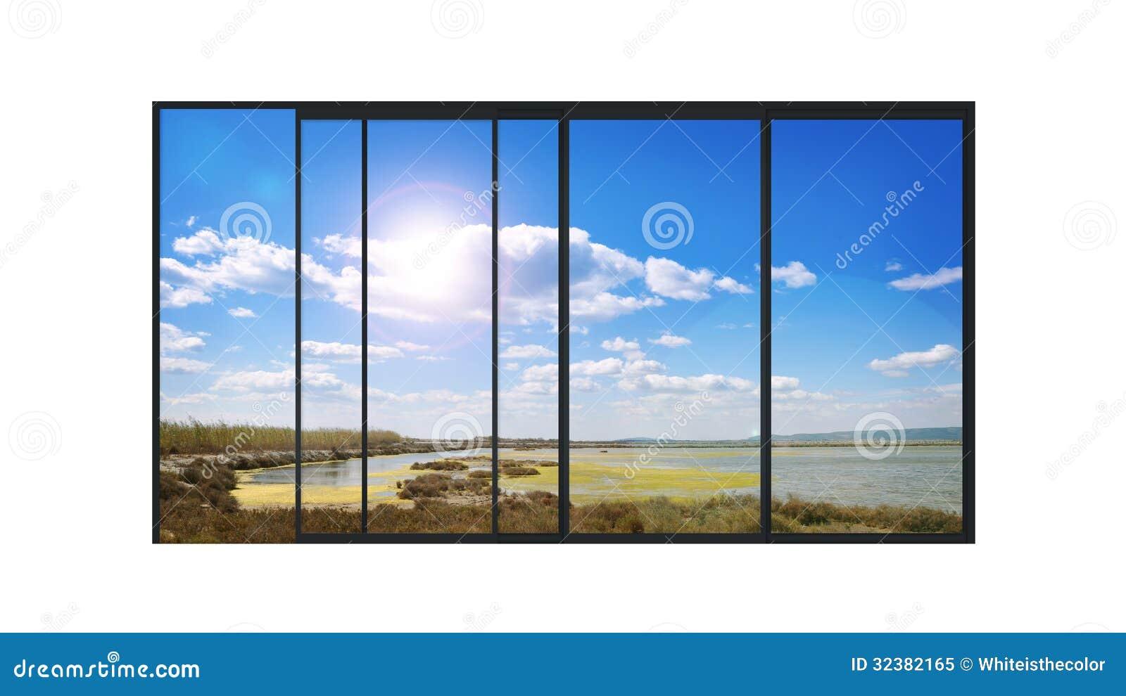 Fen tre moderne panoramique avec un paysage de lac photo for Fenetre panoramique