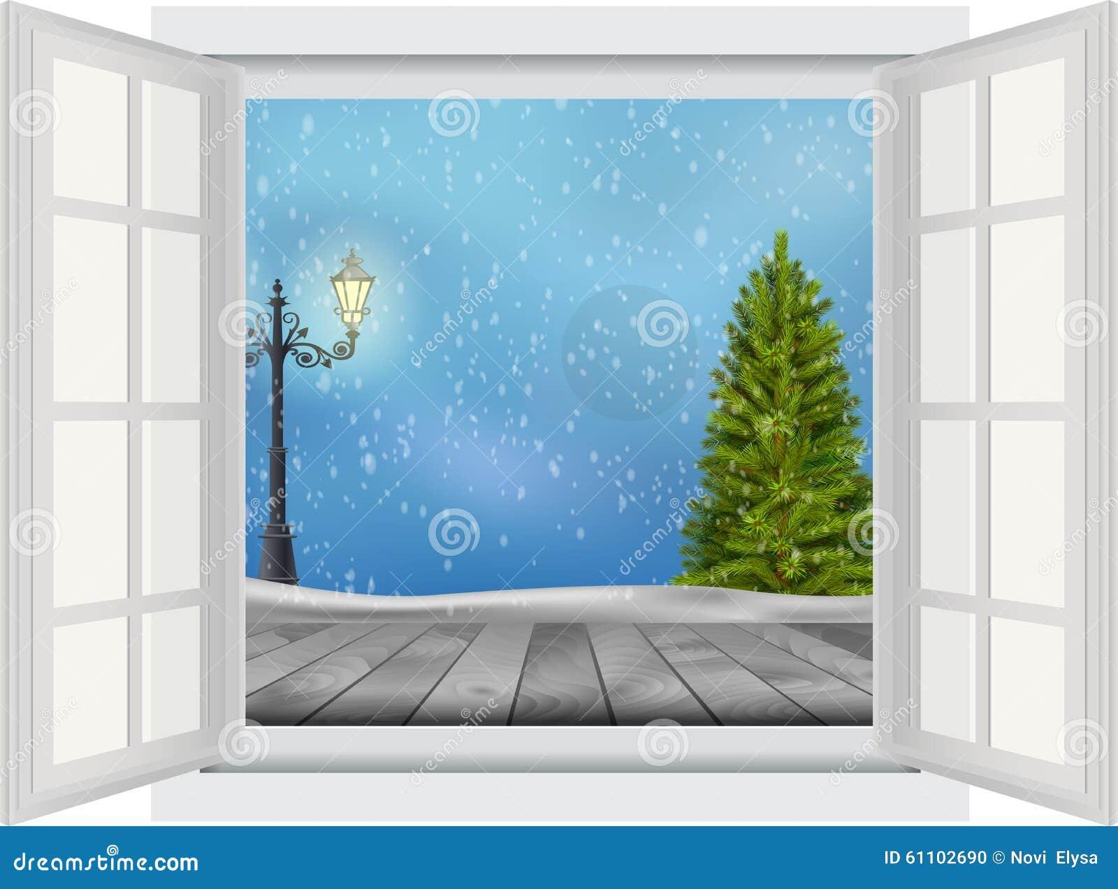 Fen tre ouverte d 39 arbre de no l et courrier de lampe sur for Fenetre hiver