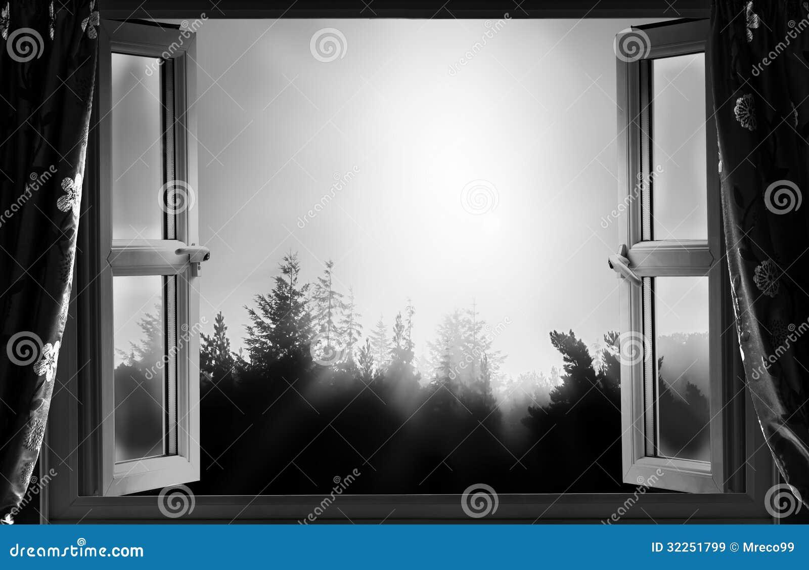 Fen tre ouverte la nuit en noir et blanc images libres de for La fenetre ouverte