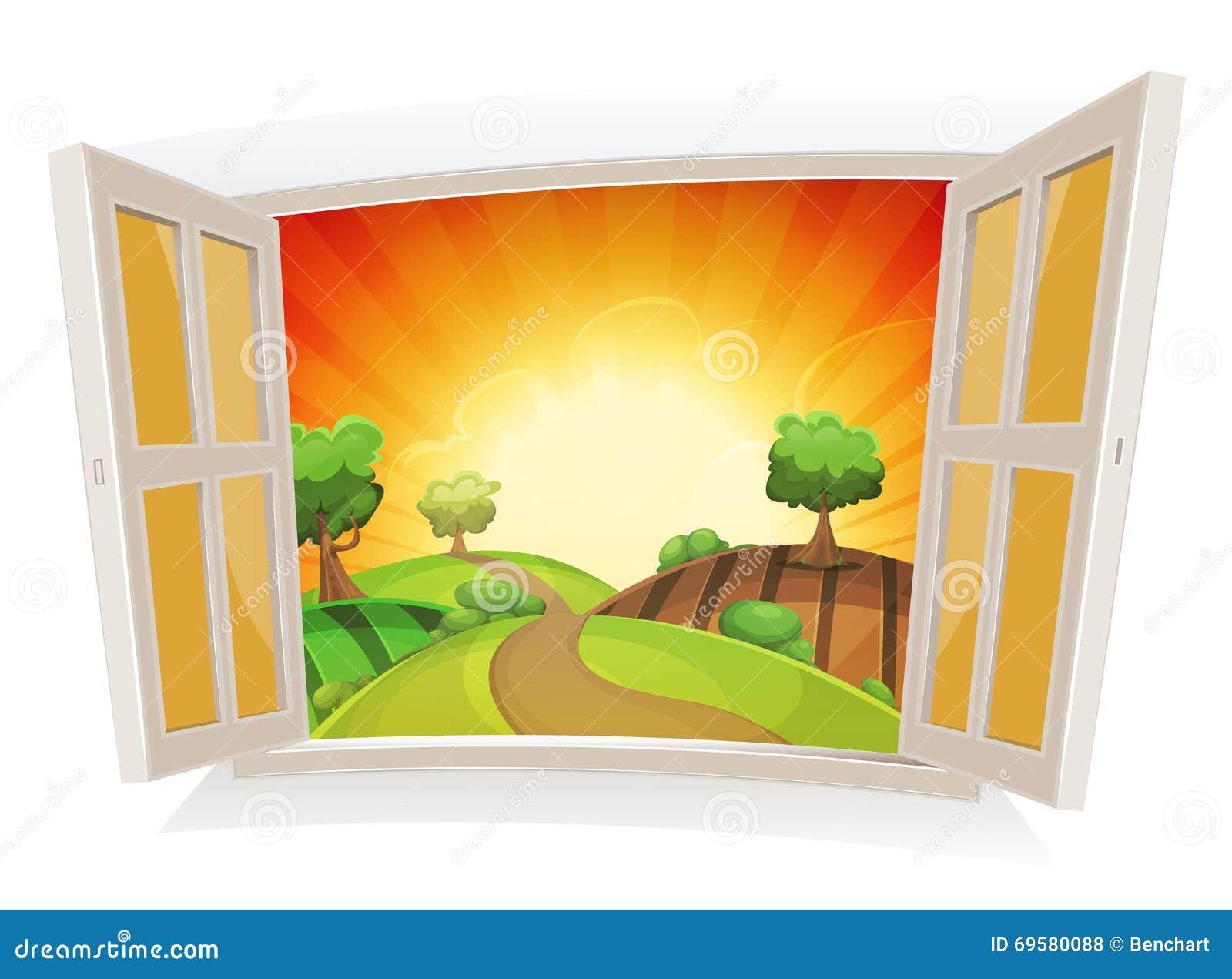 Fen tre ouverte sur un paysage rural d 39 t illustration de for Fenetre ouverte sur paysage