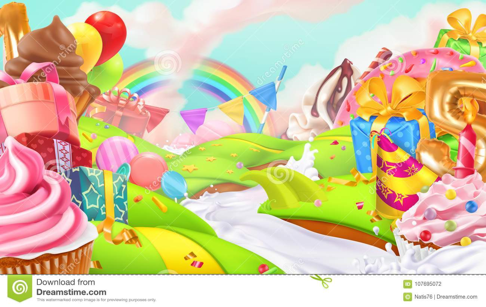 Feriado feliz Queque, caixa de presente Paisagem doce, fundo do vetor