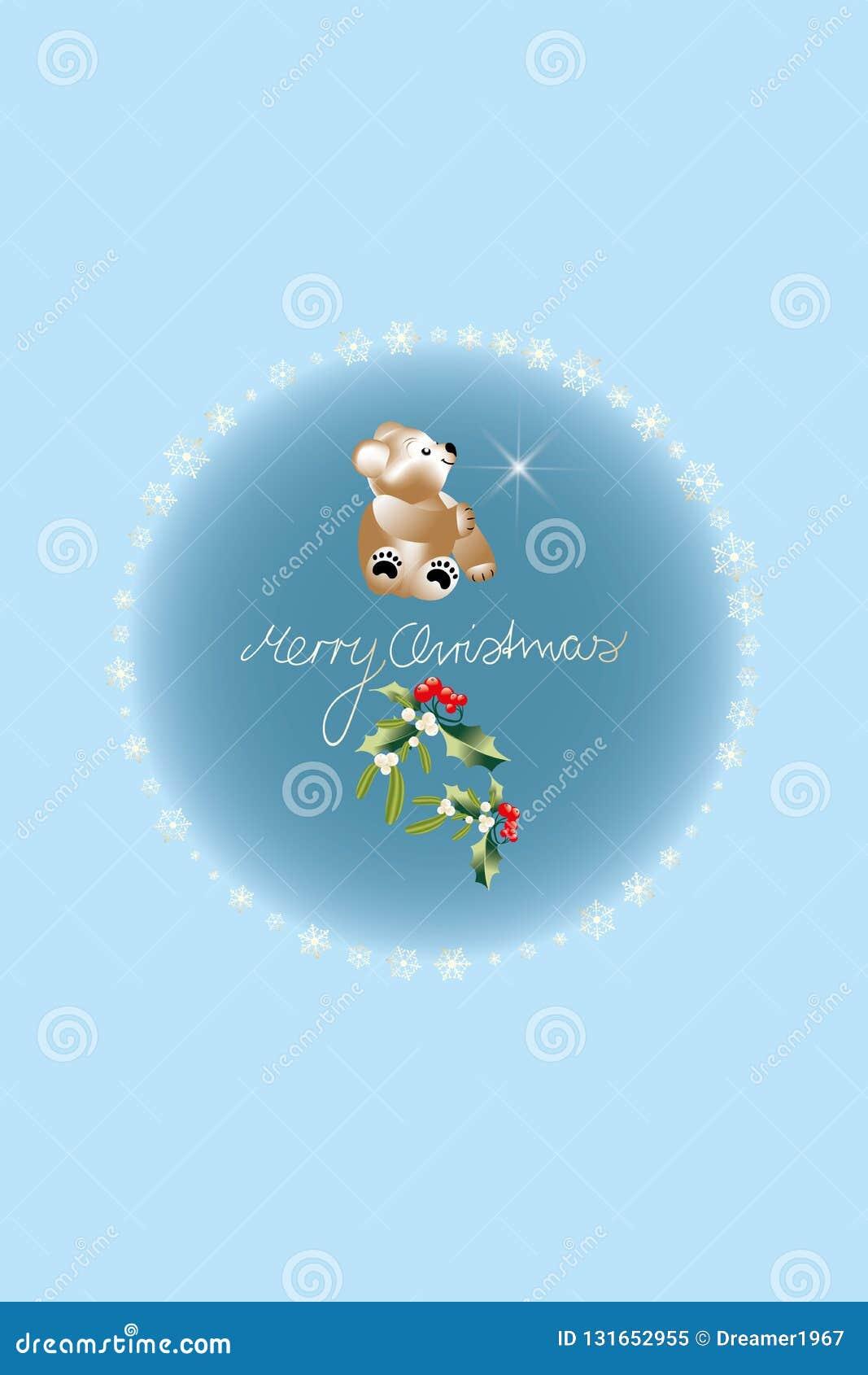 Feriados no Natal com o Peluche-urso, o azevinho, o visco e o Feliz Natal escritos por uma criança, quadro por flocos de neve dou