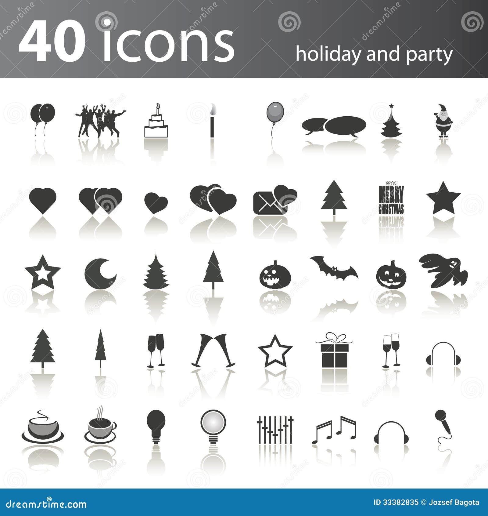 Uppsättning av 40 svartvita ferie- och partisymboler i redigerbart