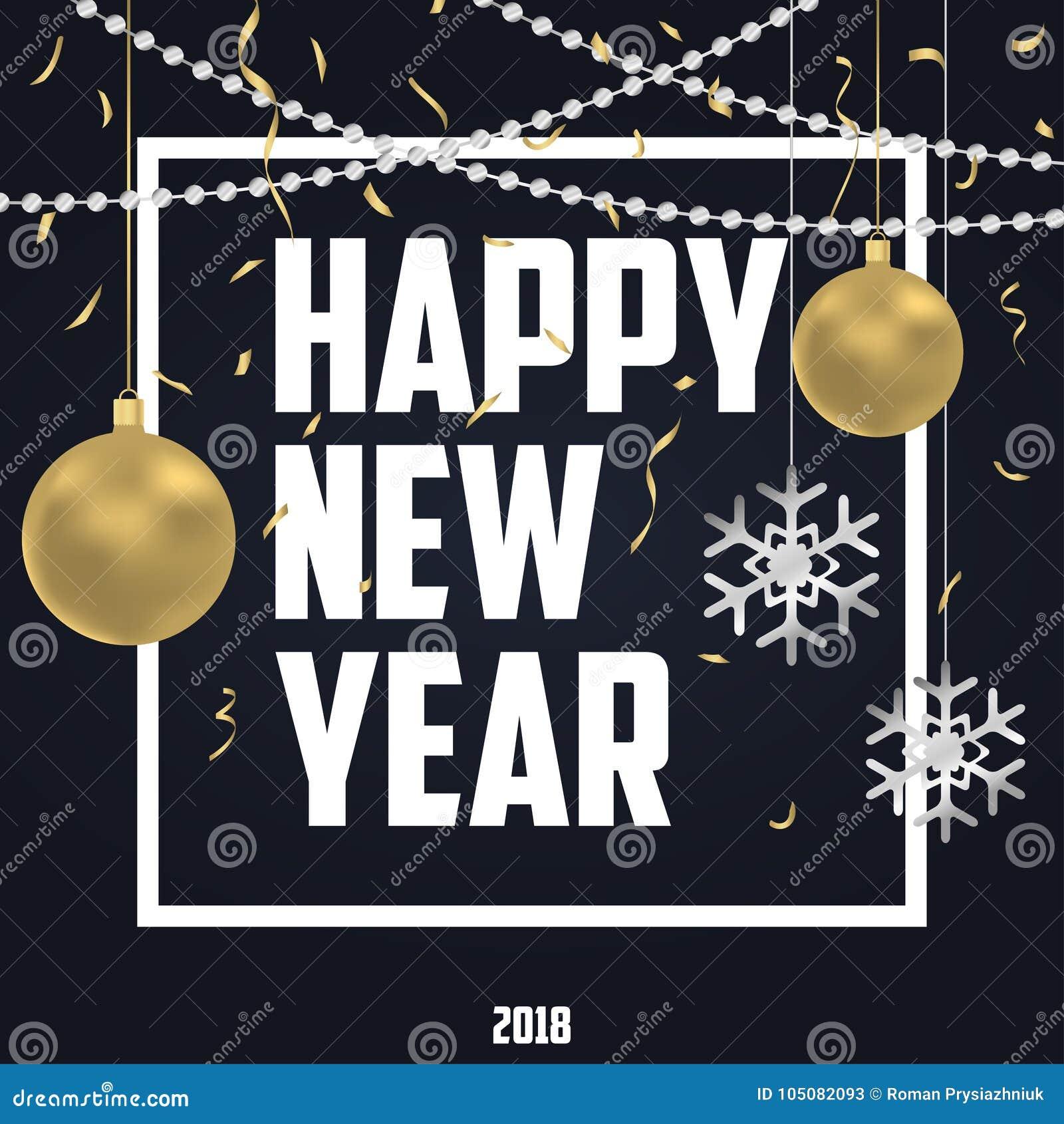 Feriekort för nytt år med guld- julbollar och silversnöflingor, guld- konfettier och argent pärlor också vektor för coreldrawillu