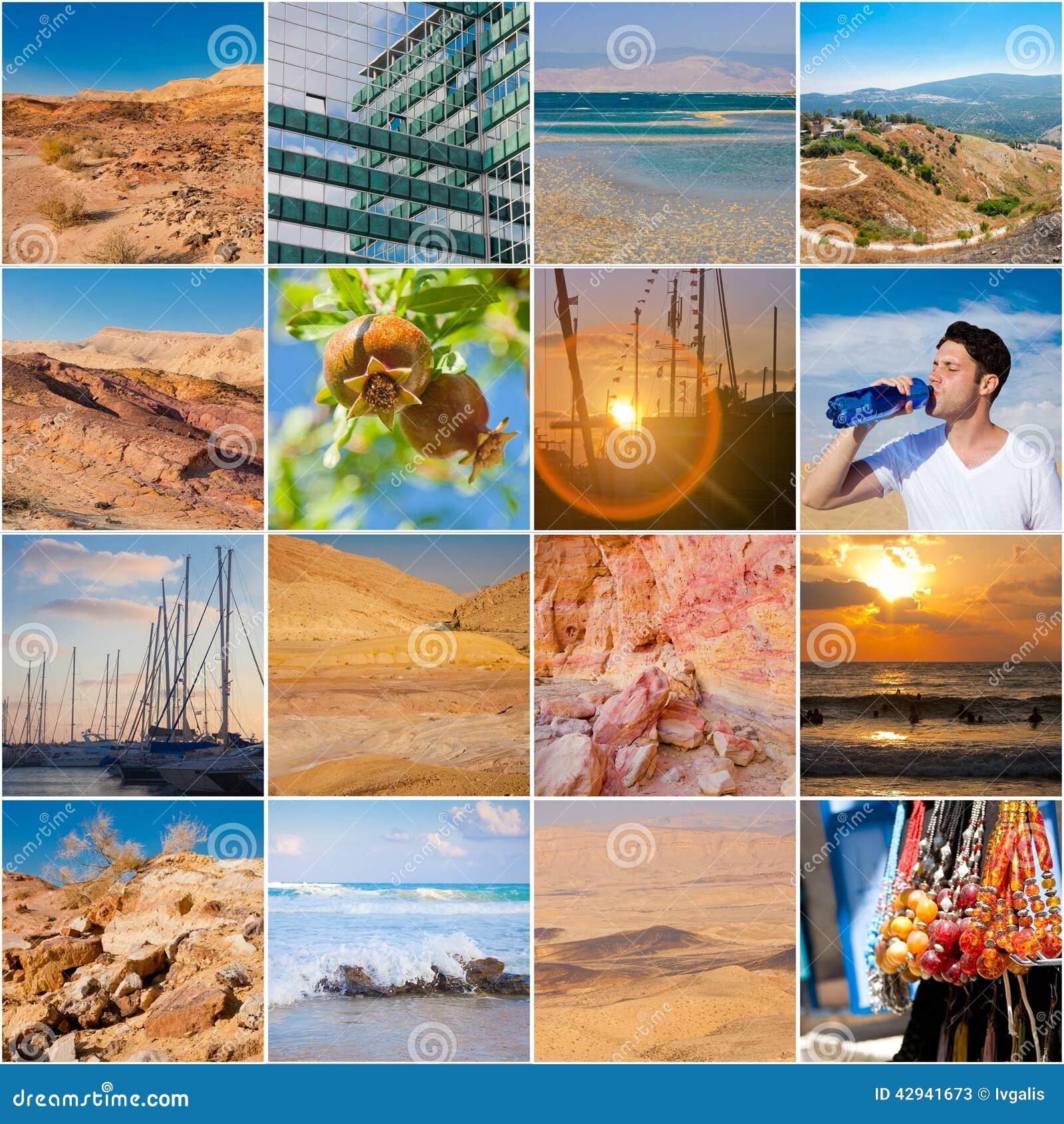 Ferien In Israel Collage Stockbild Bild Von Nave Wüste 42941673