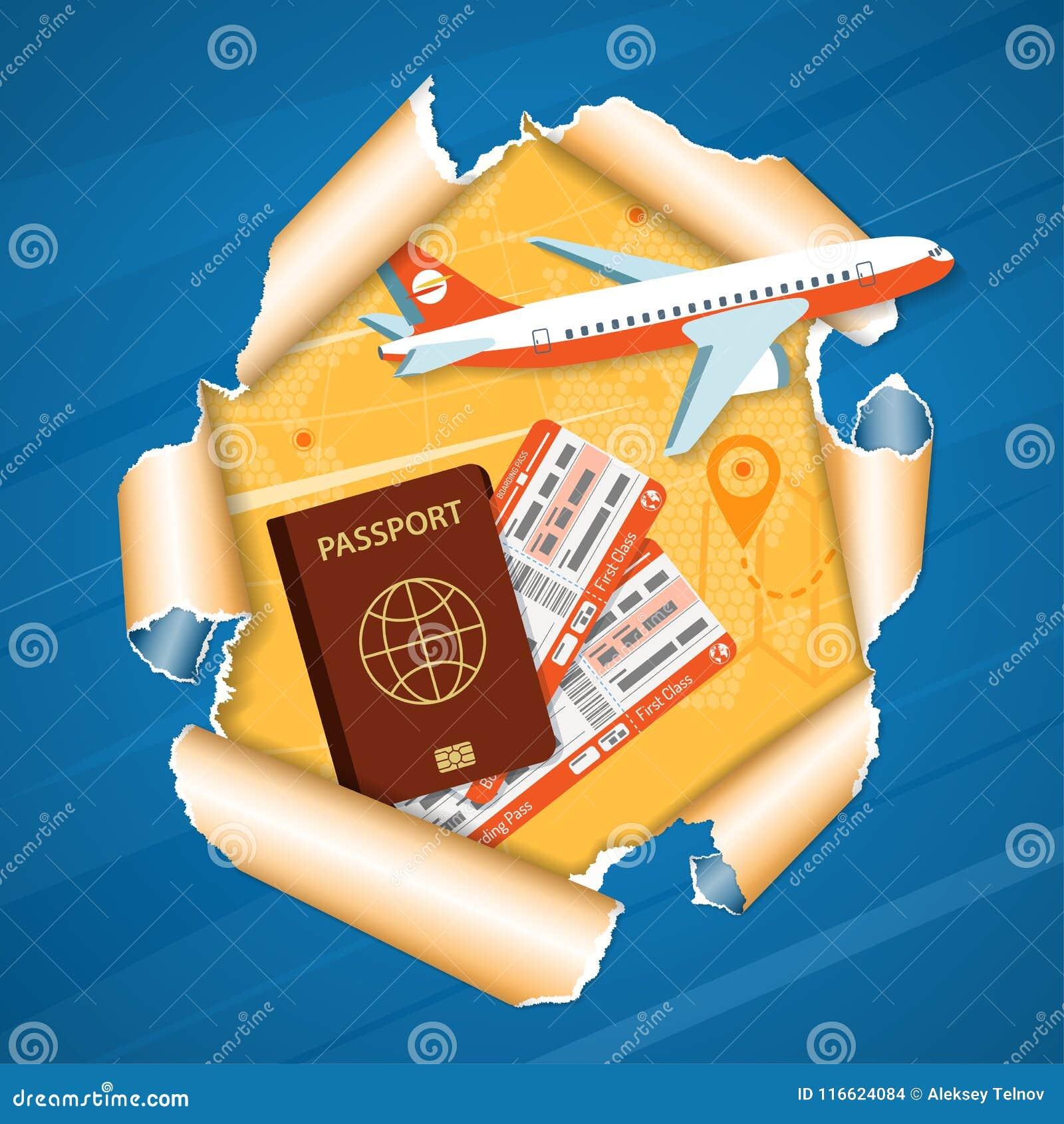 Ferien-Konzept-Flugzeuge durch heftiges Loch im Papier